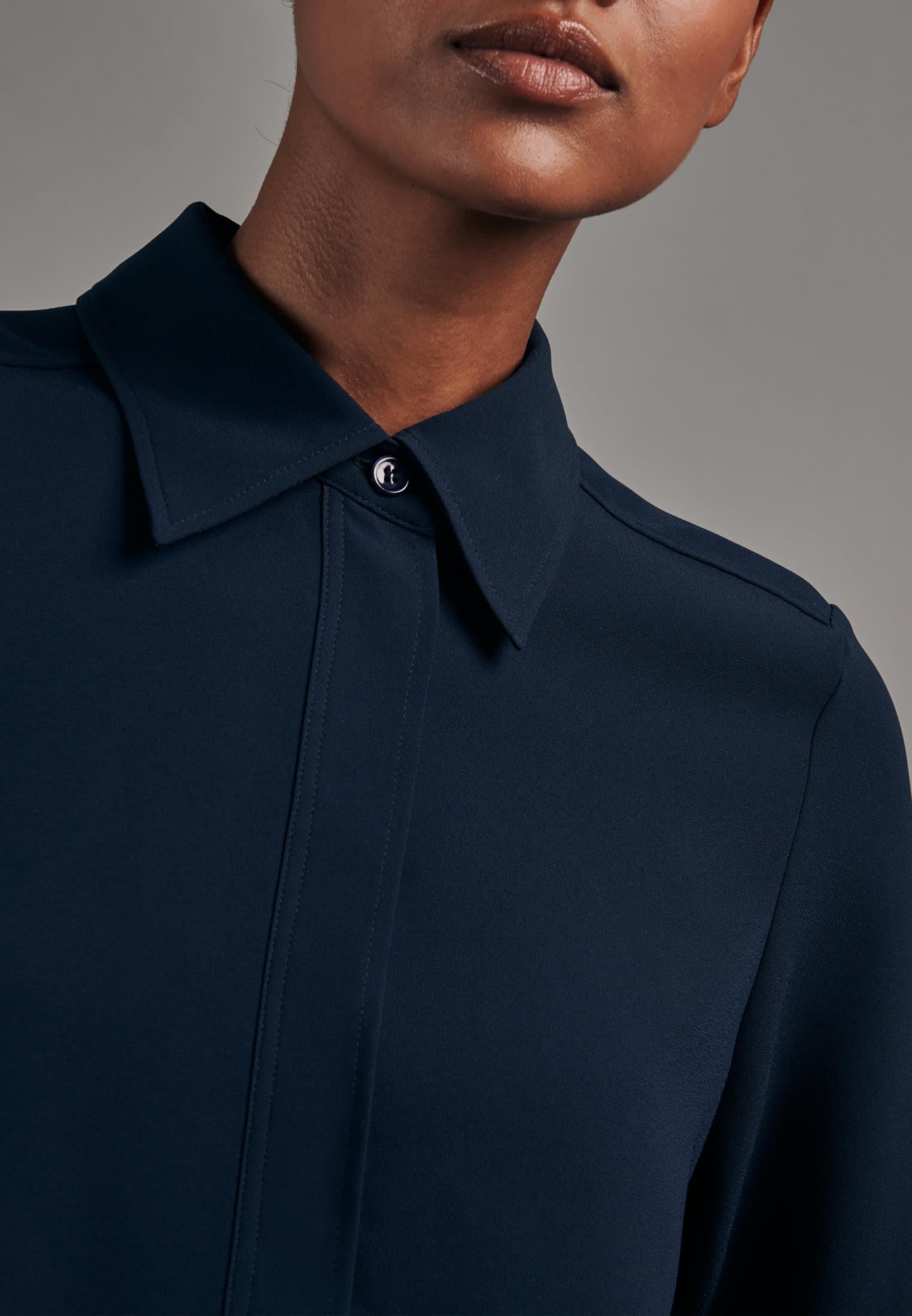 Krepp Hemdbluse aus 100% Polyester in Dunkelblau |  Seidensticker Onlineshop