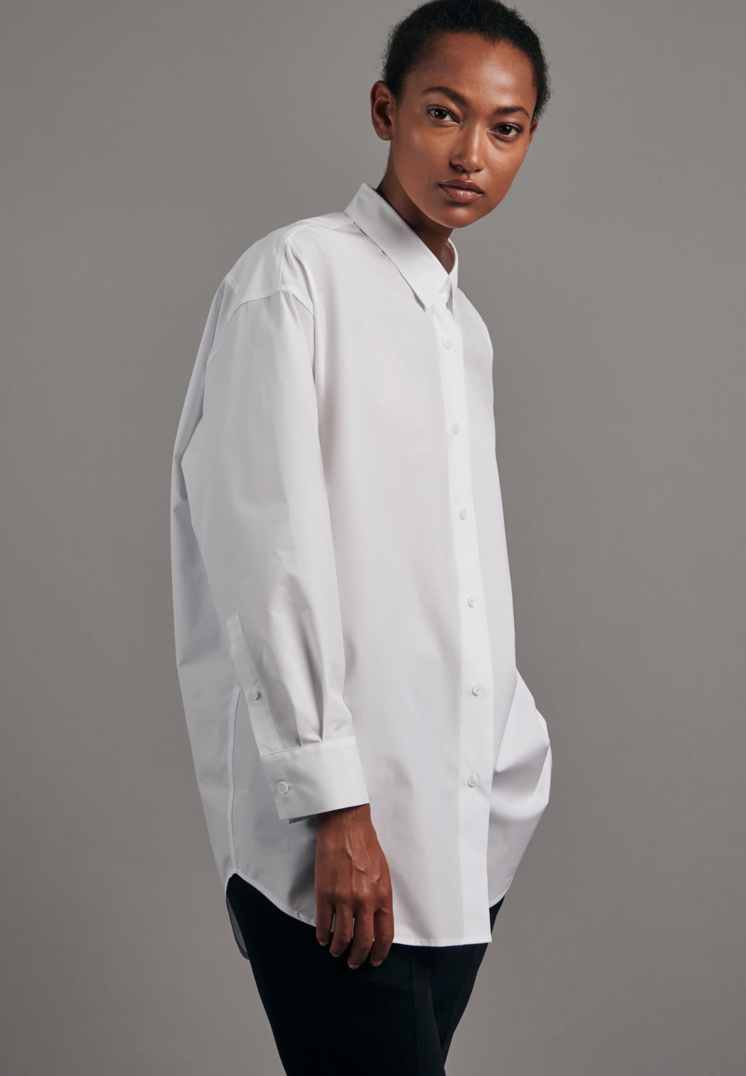 Popeline Longbluse aus 100% Baumwolle in Weiß    Seidensticker Onlineshop
