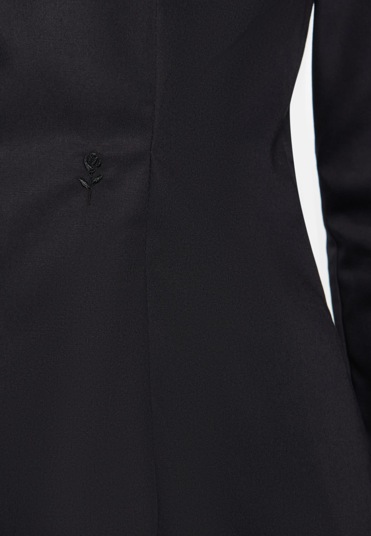 Bügelfreie Popeline Kelchkragenbluse aus 100% Baumwolle in Schwarz    Seidensticker Onlineshop