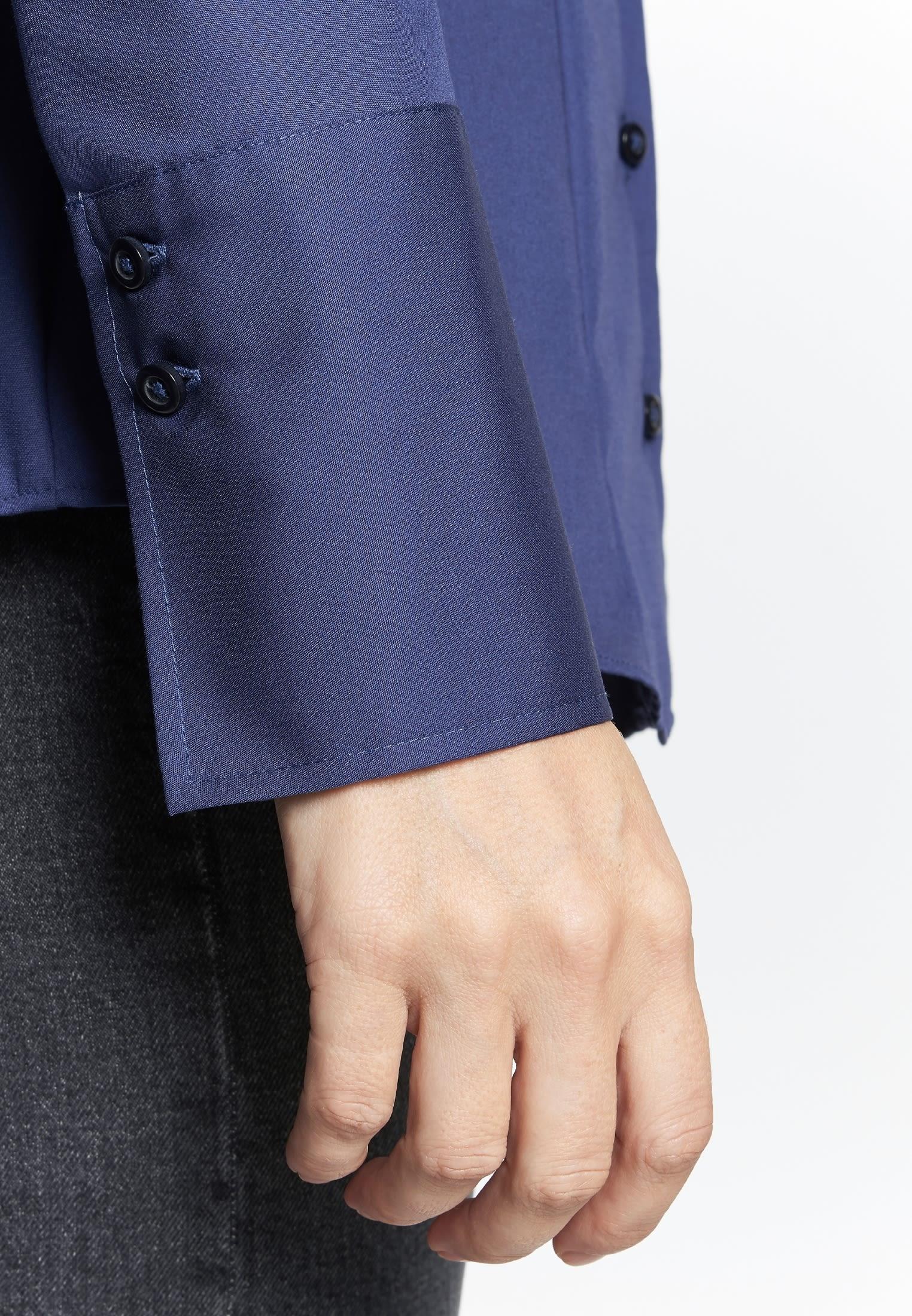 Non-iron Poplin Chalice Blouse made of 100% Cotton in Dark blue |  Seidensticker Onlineshop