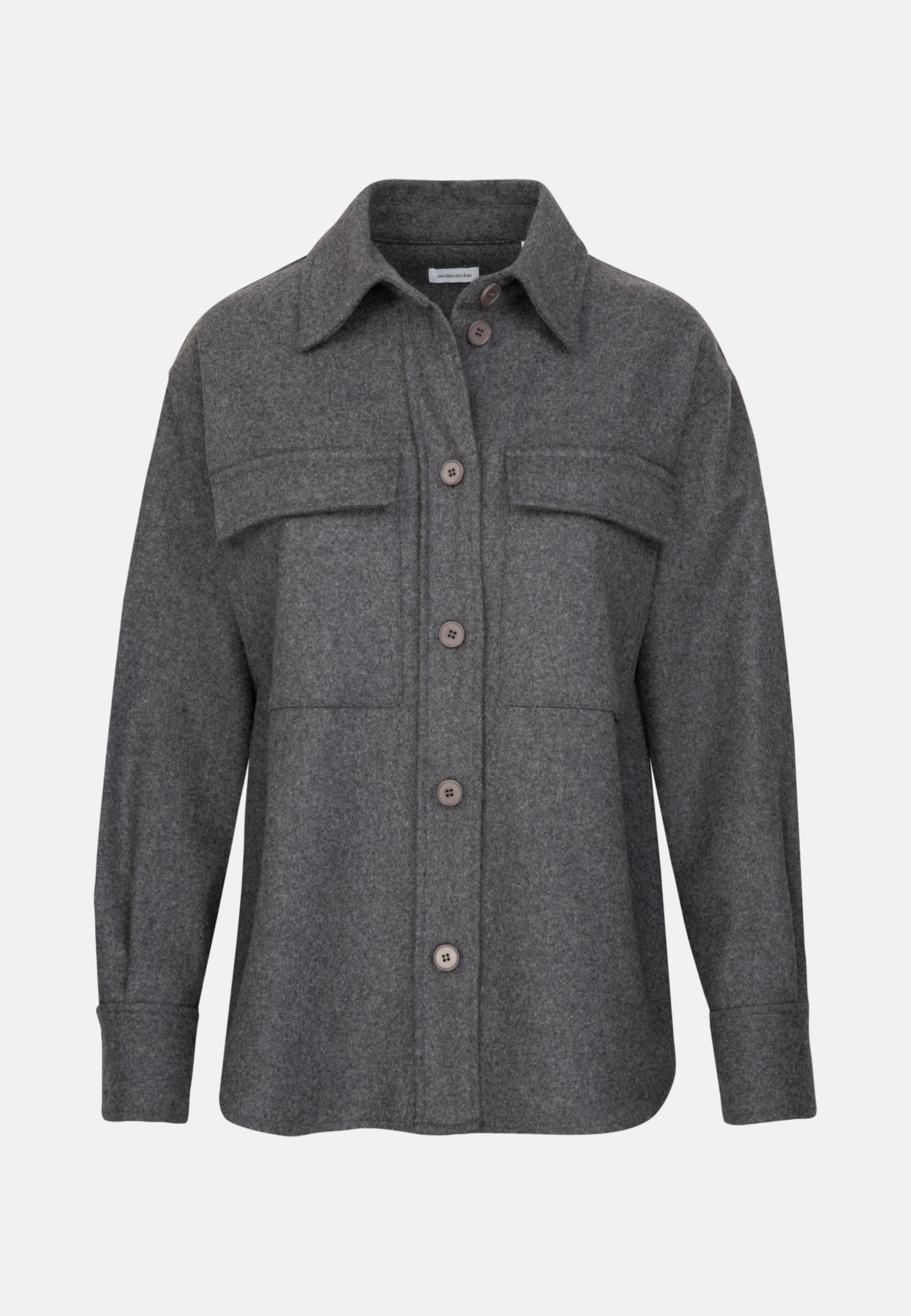 Flannel Blouse Jacket made of wool blend in Grey |  Seidensticker Onlineshop