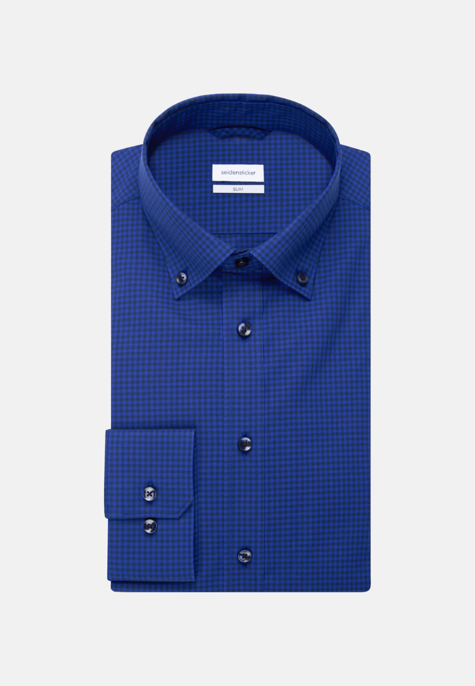 Non-iron Poplin Business Shirt in Slim with Button-Down-Collar in Medium blue    Seidensticker Onlineshop