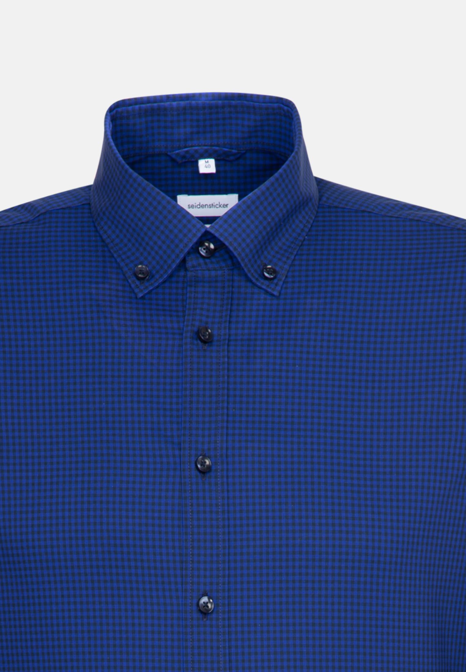 Bügelfreies Popeline Business Hemd in Slim mit Button-Down-Kragen in Mittelblau |  Seidensticker Onlineshop
