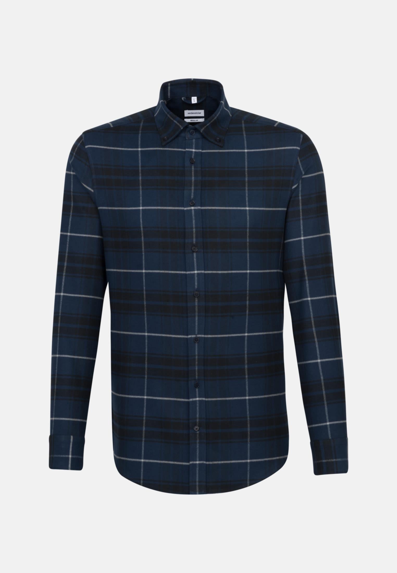 Flanell Business Hemd in Regular mit Button-Down-Kragen in Dunkelblau    Seidensticker Onlineshop