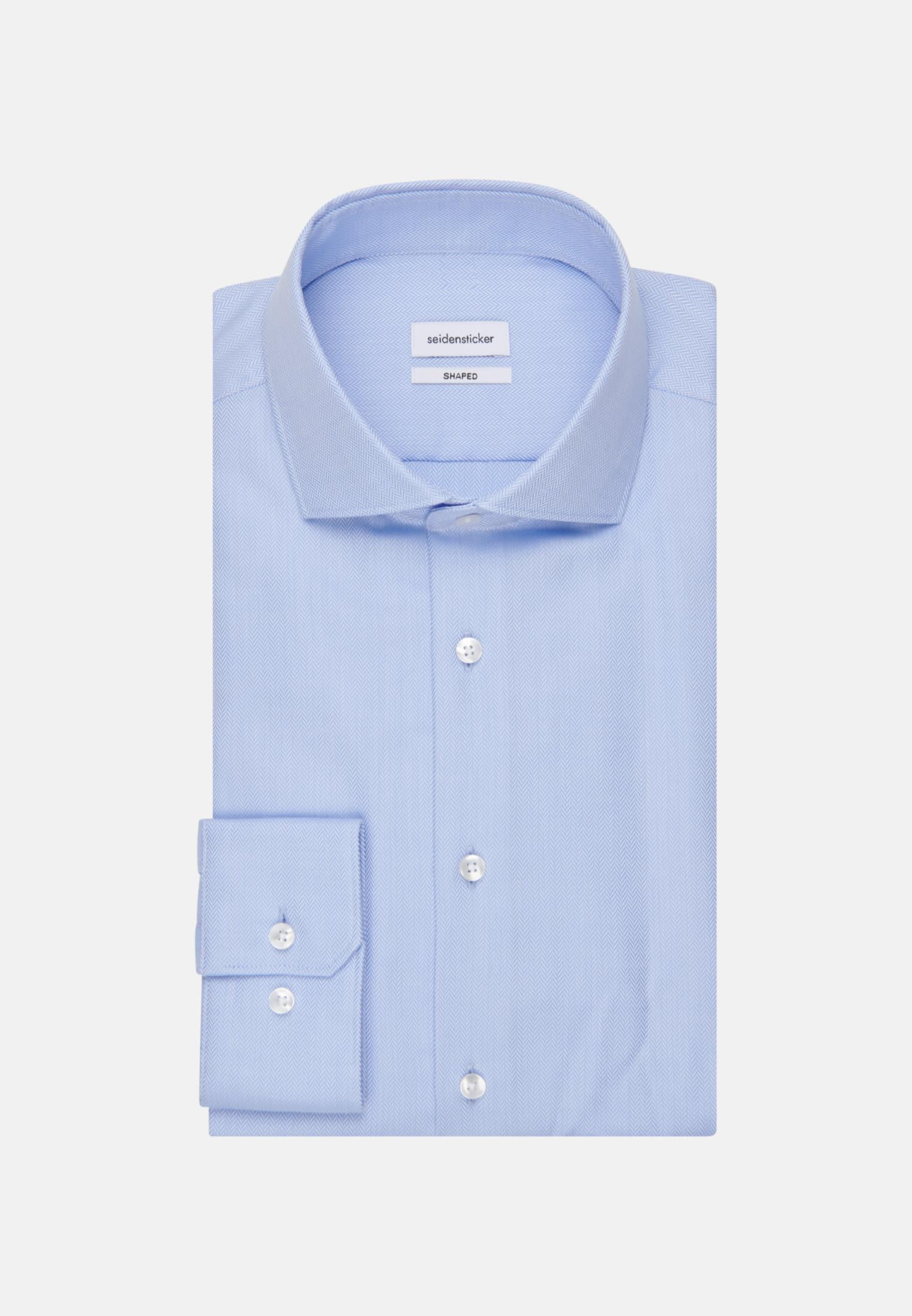 Bügelleichtes Fischgrat Business Hemd in Shaped mit Kentkragen in Hellblau |  Seidensticker Onlineshop