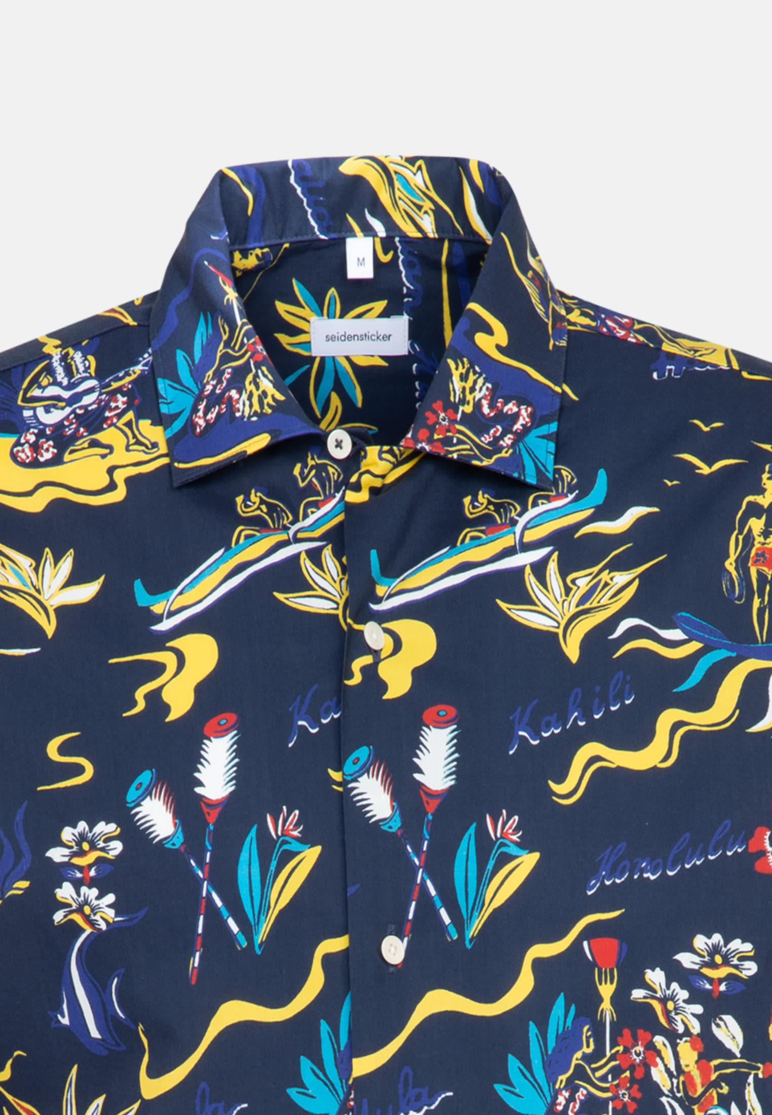 Bügelleichtes Popeline Kurzarm Business Hemd in Shaped mit Reverskragen in Dunkelblau |  Seidensticker Onlineshop