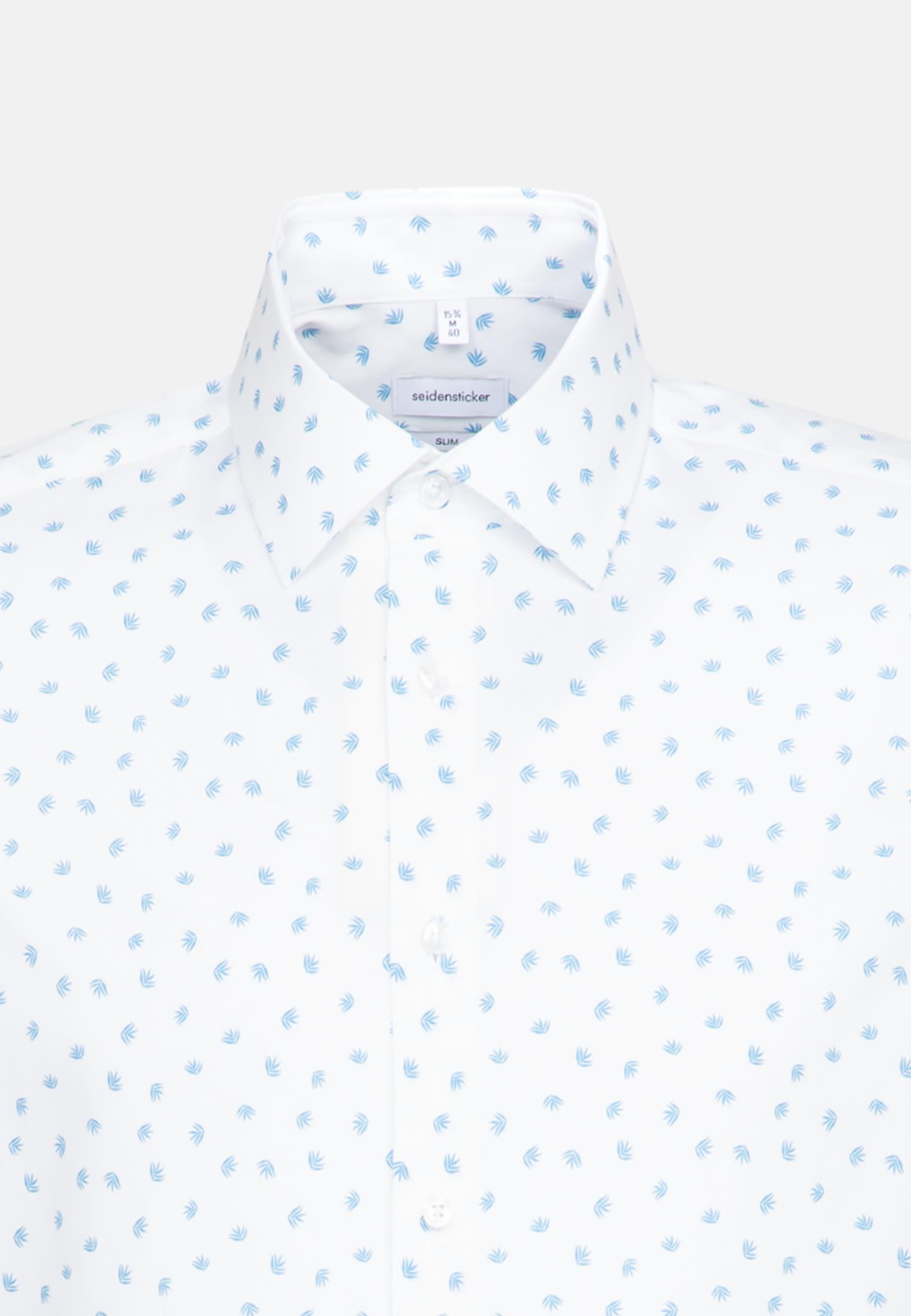 Easy-iron Poplin Short sleeve Business Shirt in Slim with Kent-Collar in Turquoise |  Seidensticker Onlineshop