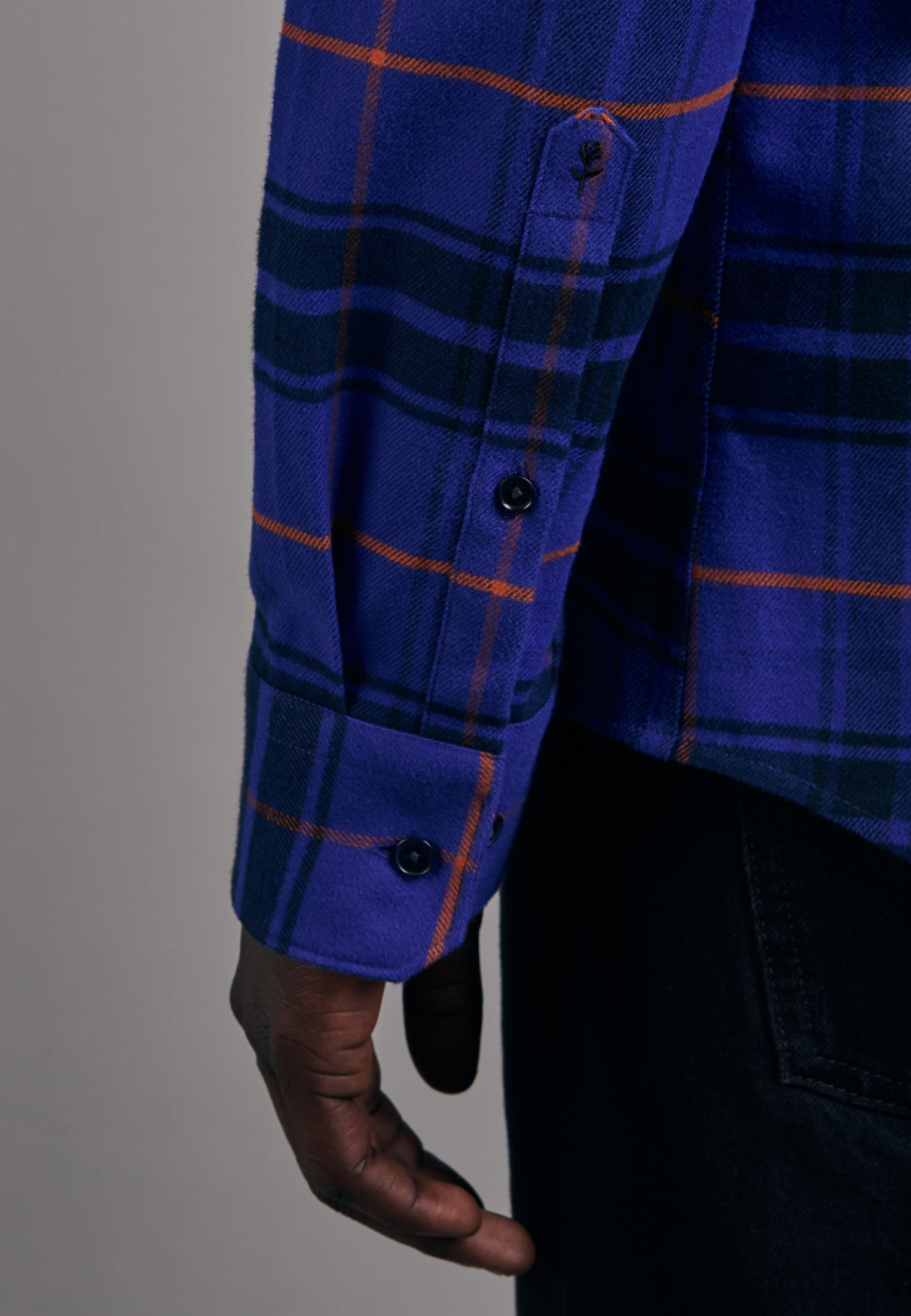 Flannel Business Shirt in Slim with Button-Down-Collar in Medium blue |  Seidensticker Onlineshop