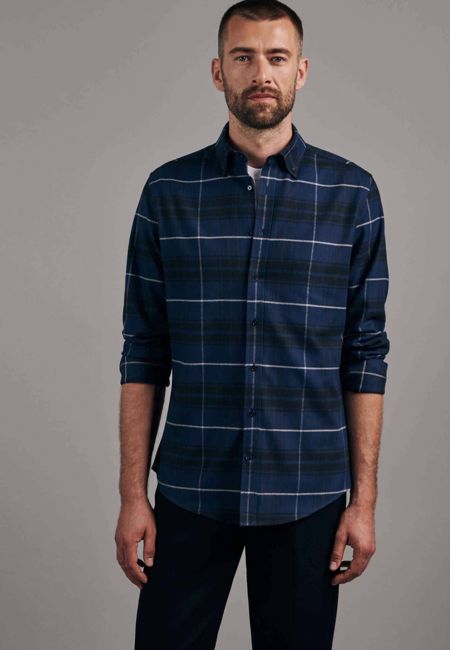 Flannel Business Shirt in Slim with Button-Down-Collar in Dark blue |  Seidensticker Onlineshop