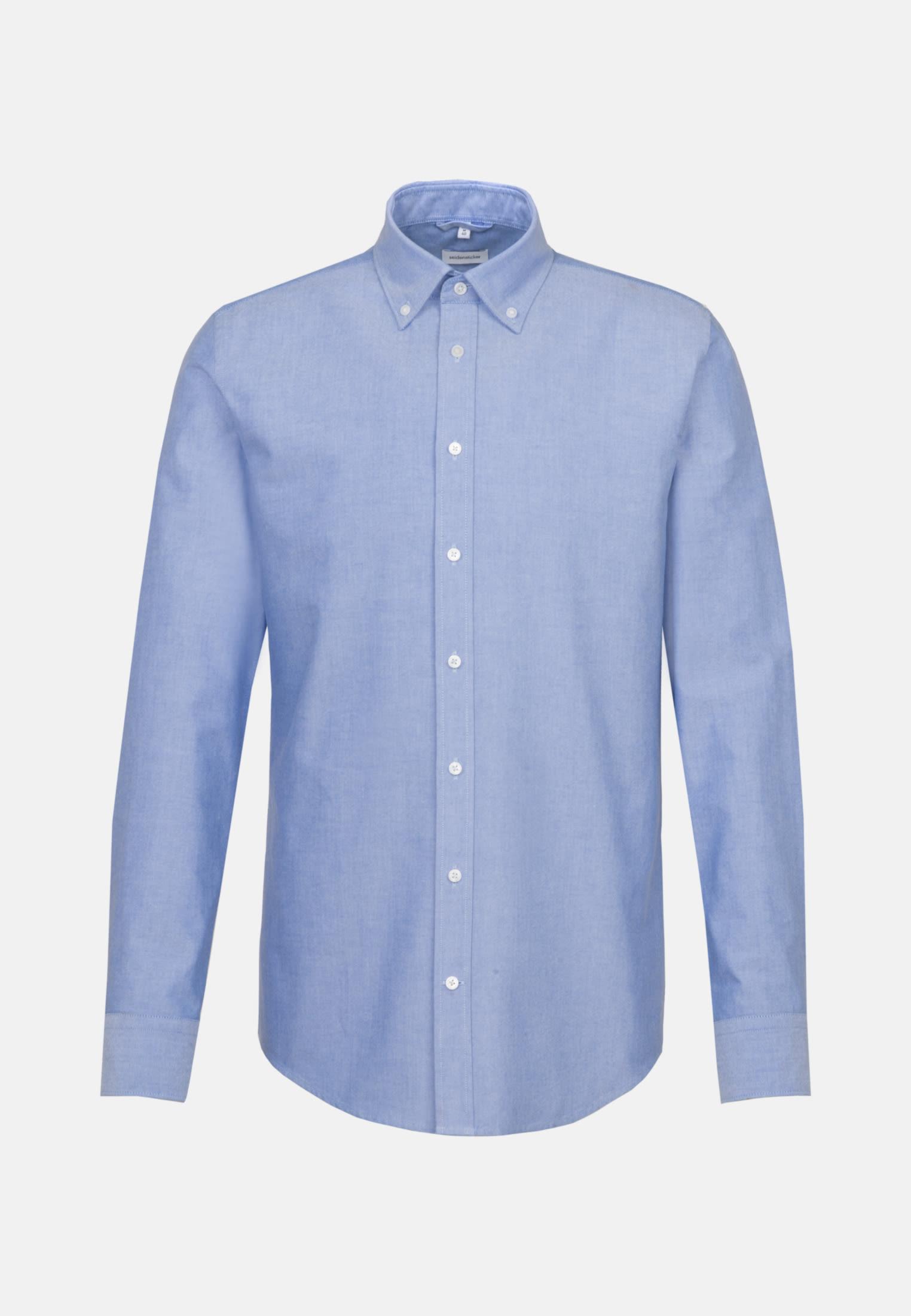 Bügelleichtes Oxford Business Hemd in Slim mit Button-Down-Kragen und extra langem Arm in Hellblau    Seidensticker Onlineshop