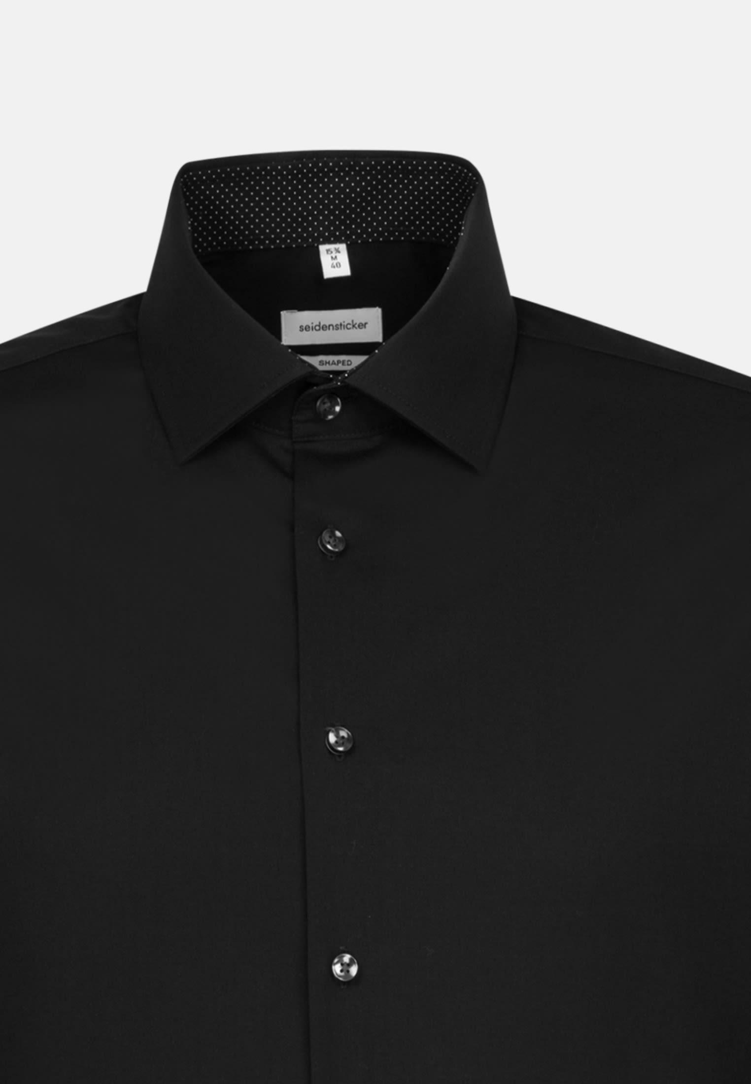 Bügelfreies Popeline Business Hemd in Shaped mit Kentkragen und extra langem Arm in Schwarz |  Seidensticker Onlineshop