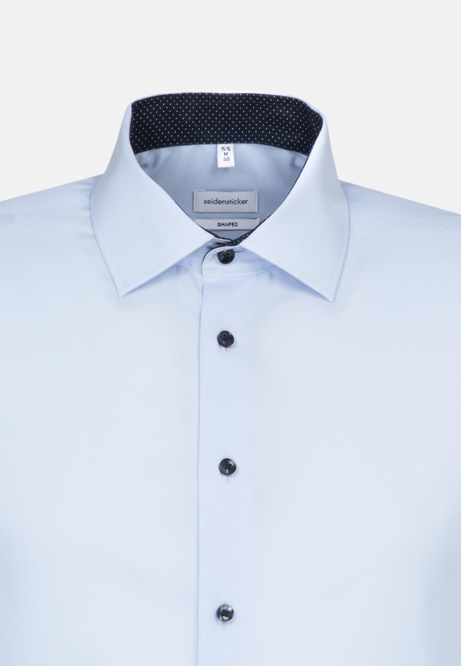 Bügelfreies Popeline Business Hemd in Shaped mit Kentkragen und extra langem Arm in Mittelblau |  Seidensticker Onlineshop