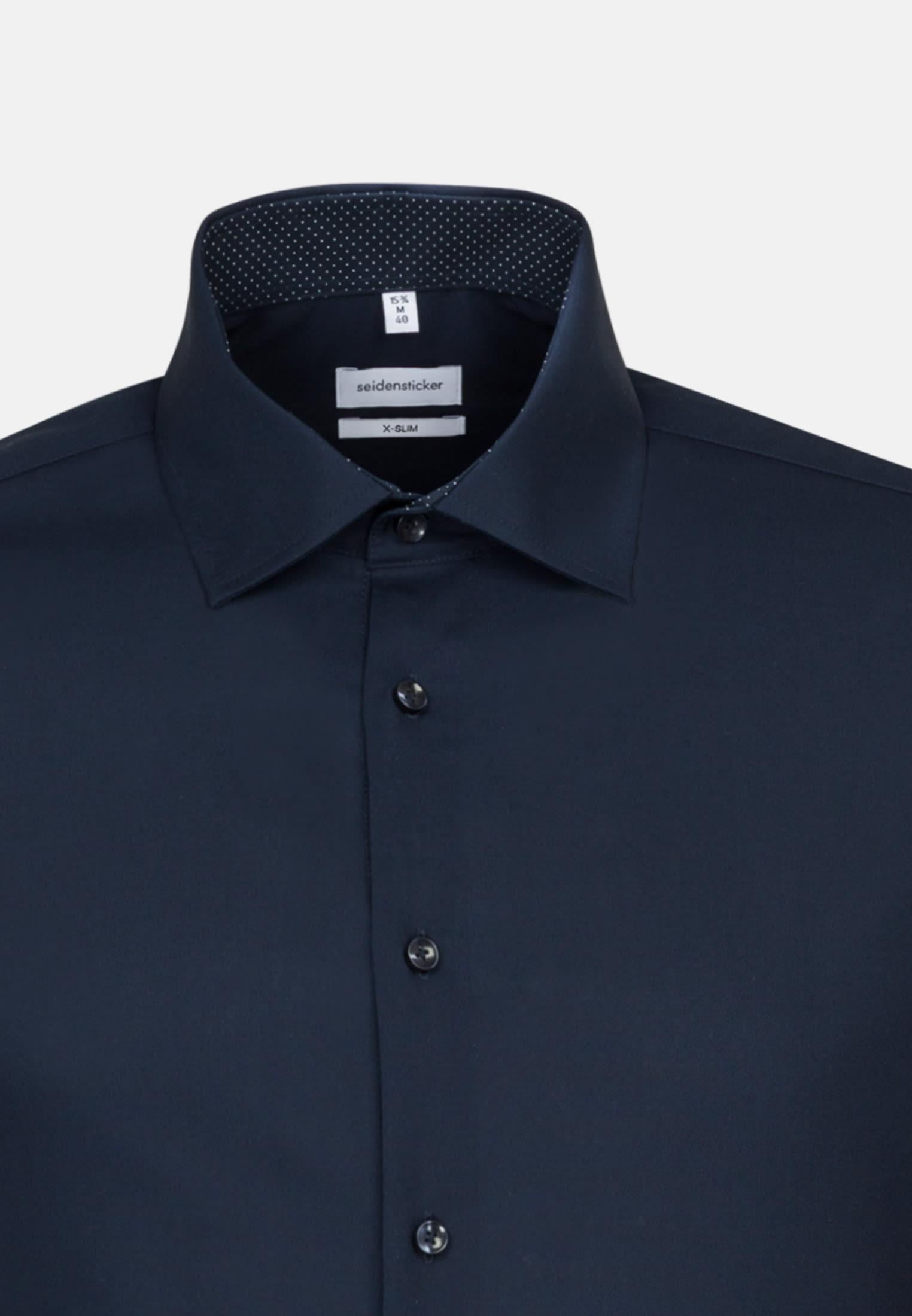 Bügelfreies Popeline Business Hemd in X-Slim mit Kentkragen und extra langem Arm in Dunkelblau    Seidensticker Onlineshop