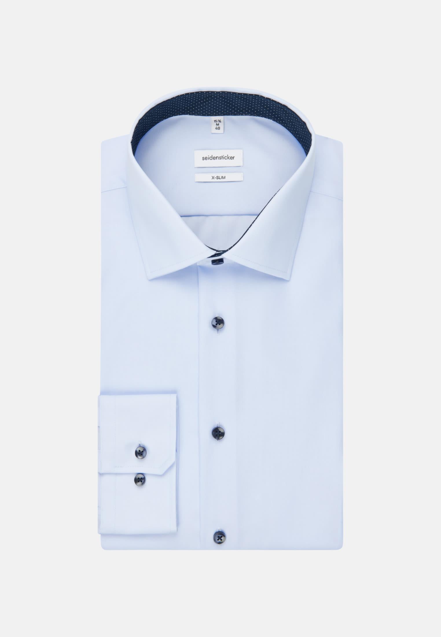 Non-iron Poplin Business Shirt in X-Slim with Kent-Collar and extra long sleeve in Medium blue |  Seidensticker Onlineshop