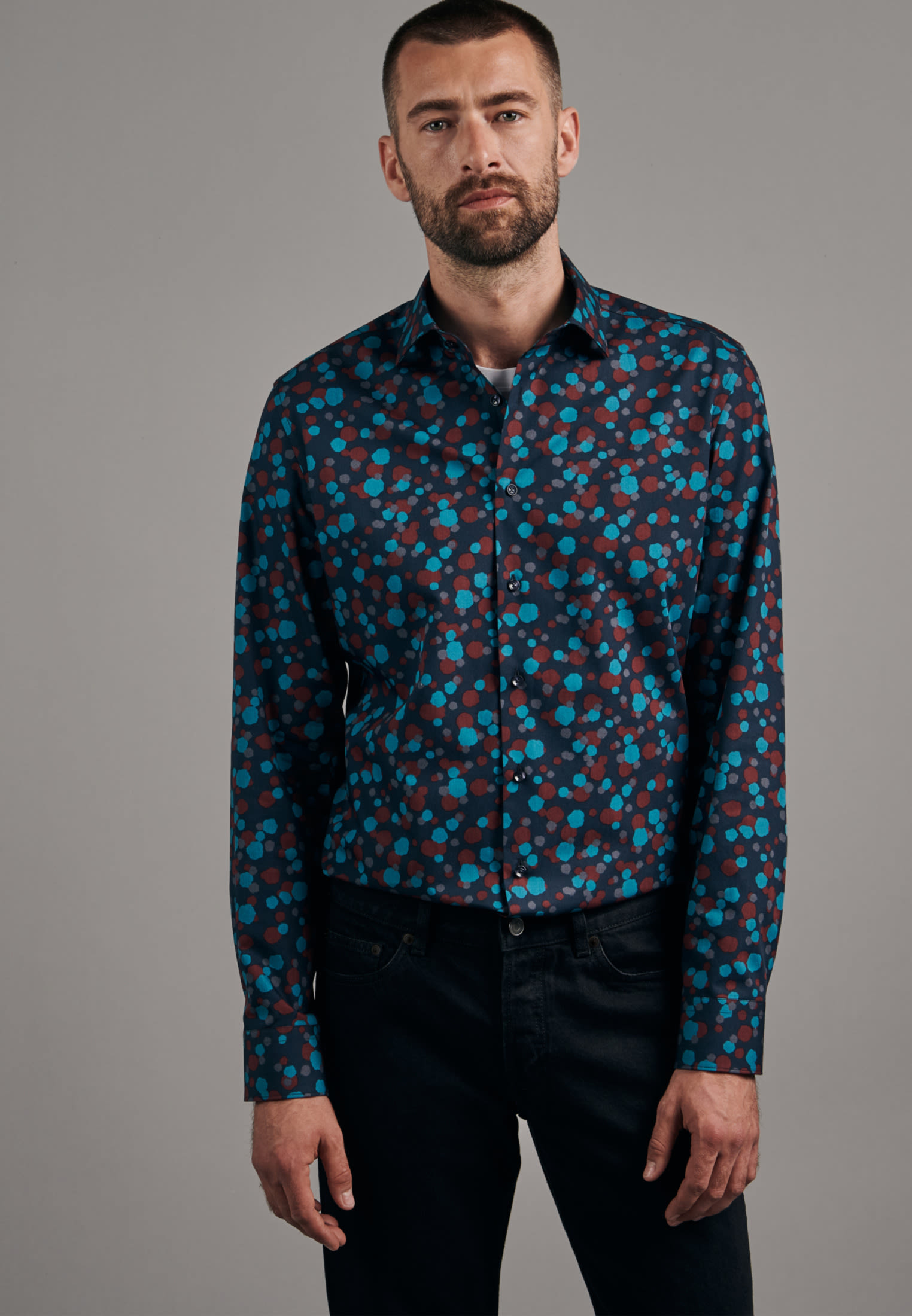 Easy-iron Poplin Business Shirt in Shaped with Kent-Collar in Turquoise |  Seidensticker Onlineshop