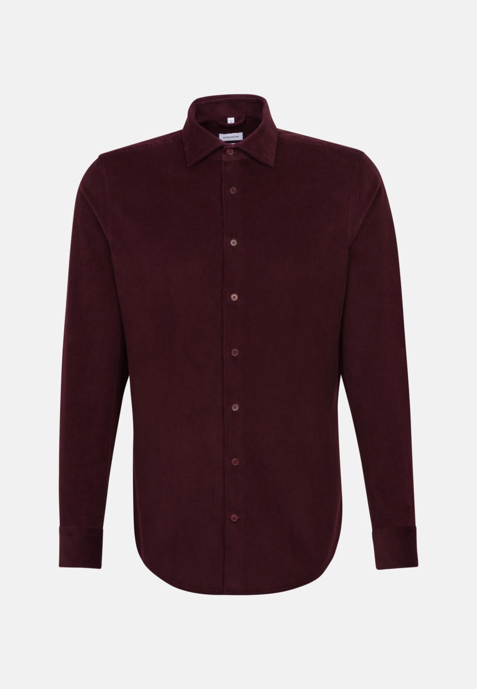 Bügelleichtes Cord Business Hemd in Slim mit Kentkragen in Rot |  Seidensticker Onlineshop