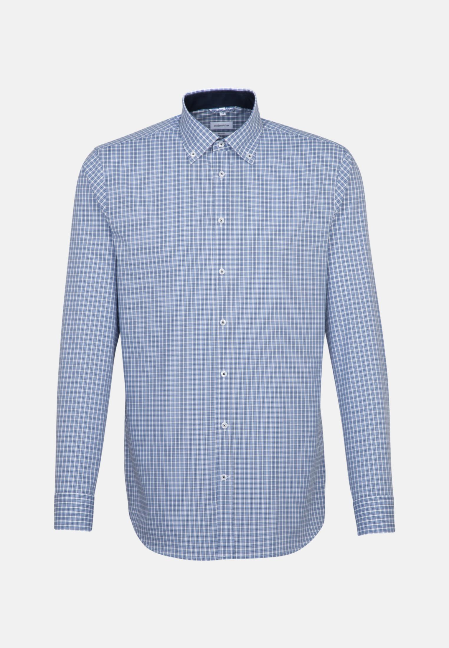 Non-iron Poplin Business Shirt in Shaped with Button-Down-Collar in Light blue    Seidensticker Onlineshop