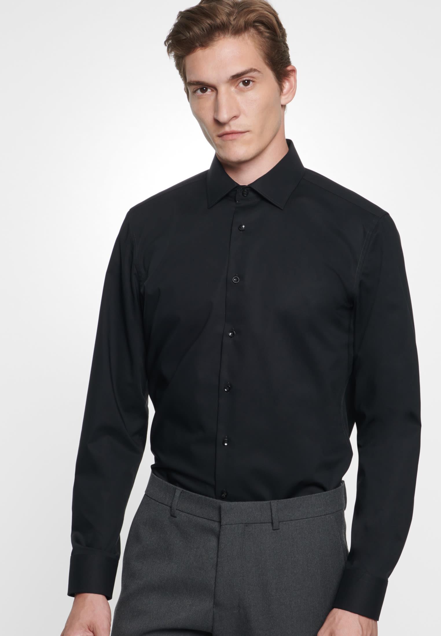 Non-iron Chambray Business Shirt in X-Slim with Kent-Collar in Black |  Seidensticker Onlineshop