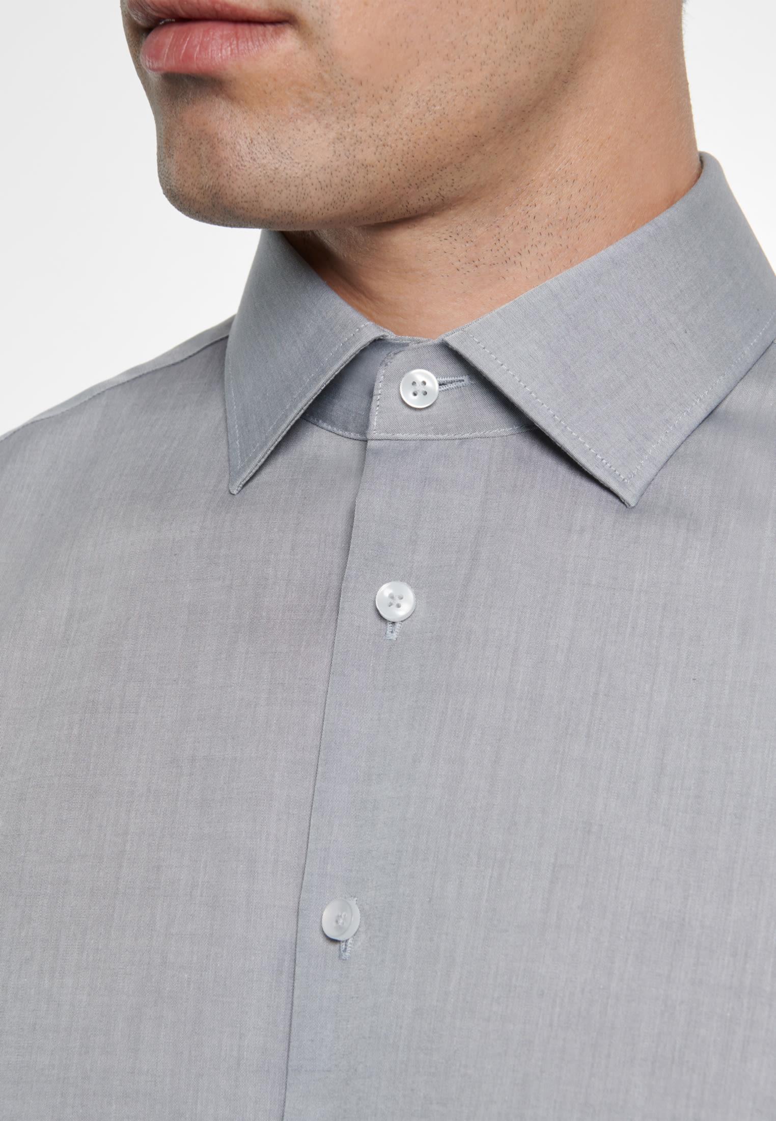 Bügelfreies Chambray Business Hemd in X-Slim mit Kentkragen in Grau |  Seidensticker Onlineshop