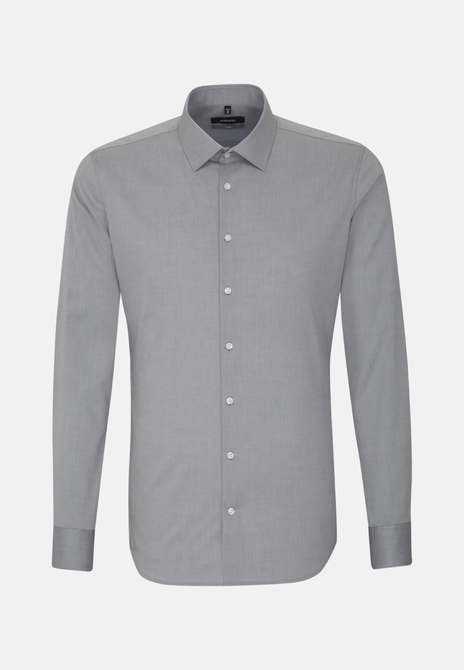 Non-iron Chambray Business Shirt in X-Slim with Kent-Collar in grau |  Seidensticker Onlineshop
