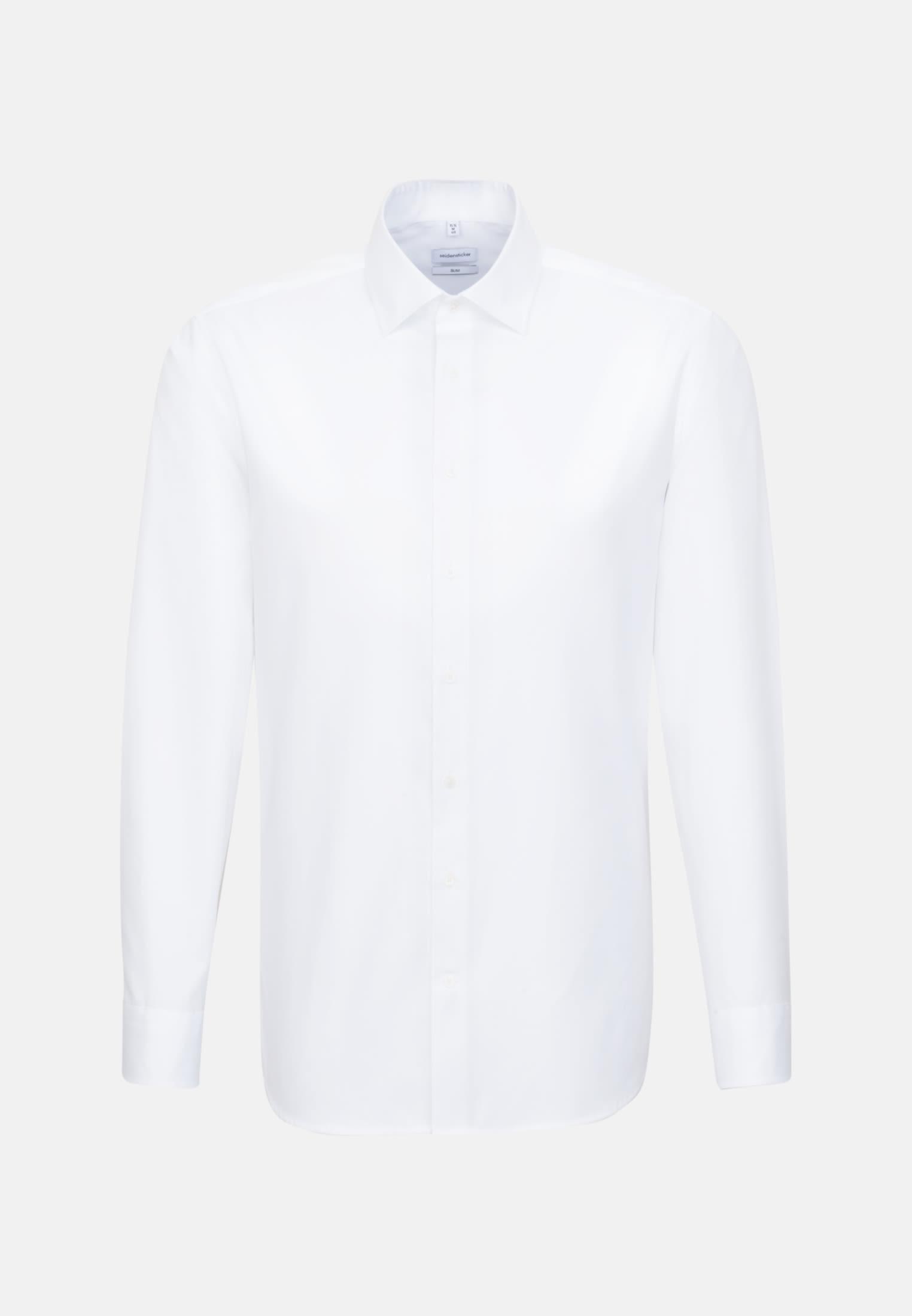 Bügelleichtes Satin Business Hemd in Slim mit Kentkragen in Weiß |  Seidensticker Onlineshop