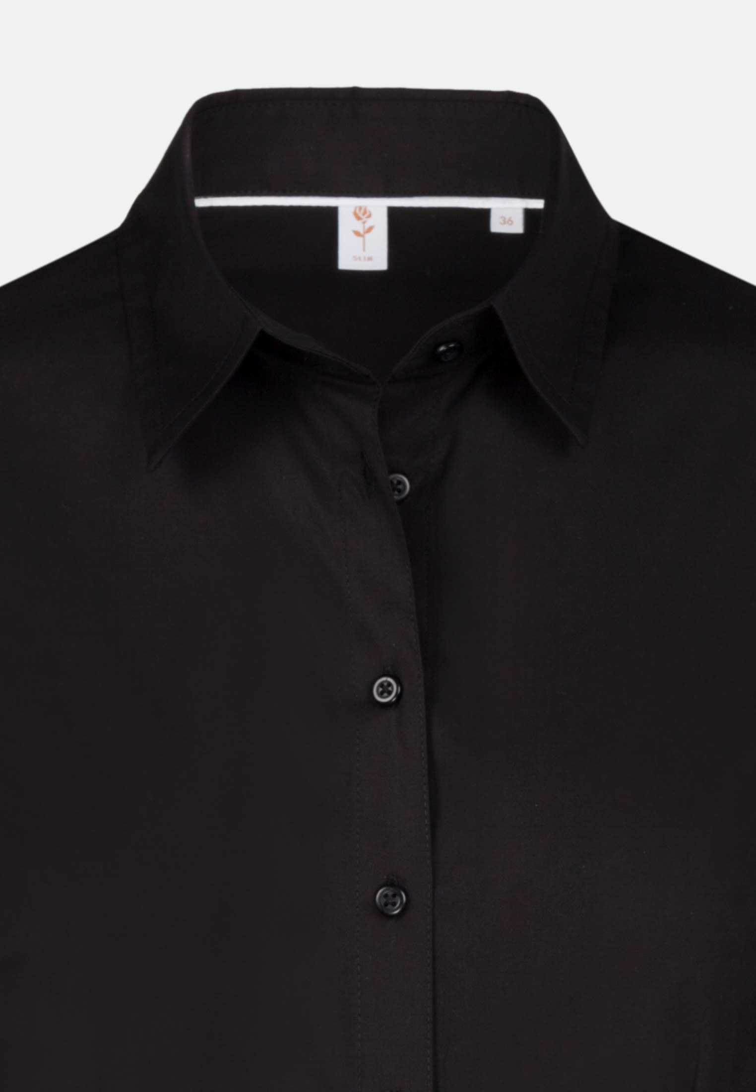 Poplin Shirt Blouse made of cotton blend in Black |  Seidensticker Onlineshop