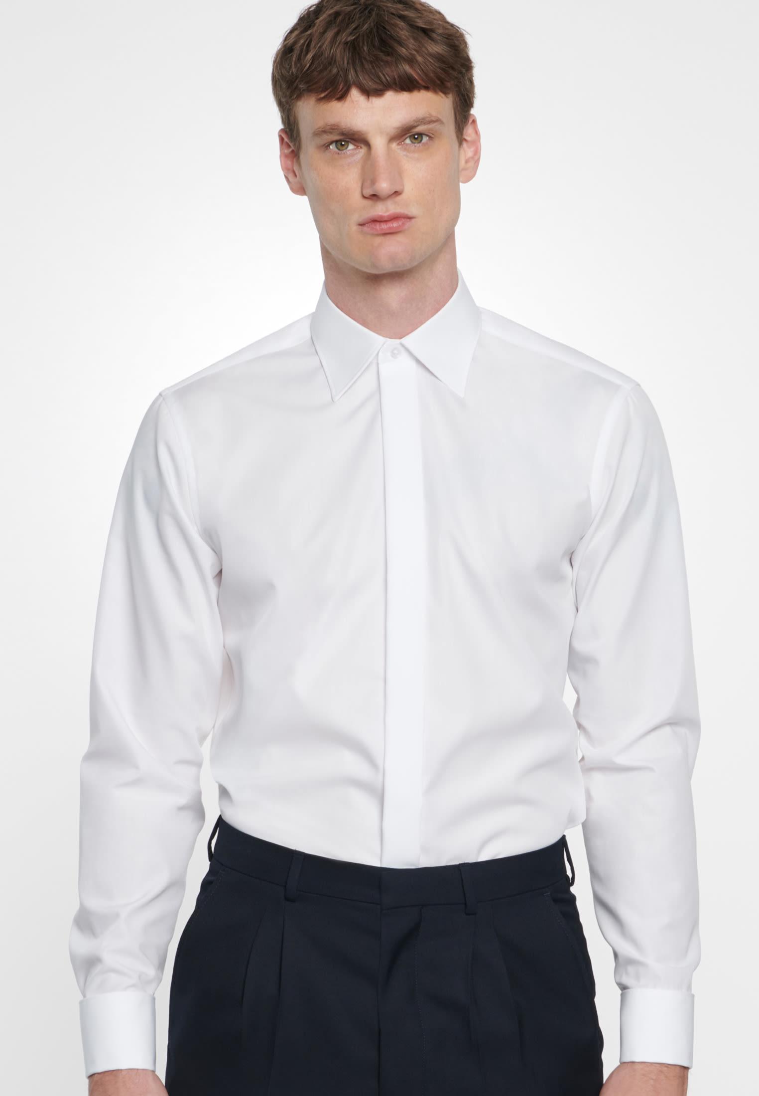 Non-iron Poplin Gala Shirt in Modern with Kent-Collar in White |  Seidensticker Onlineshop