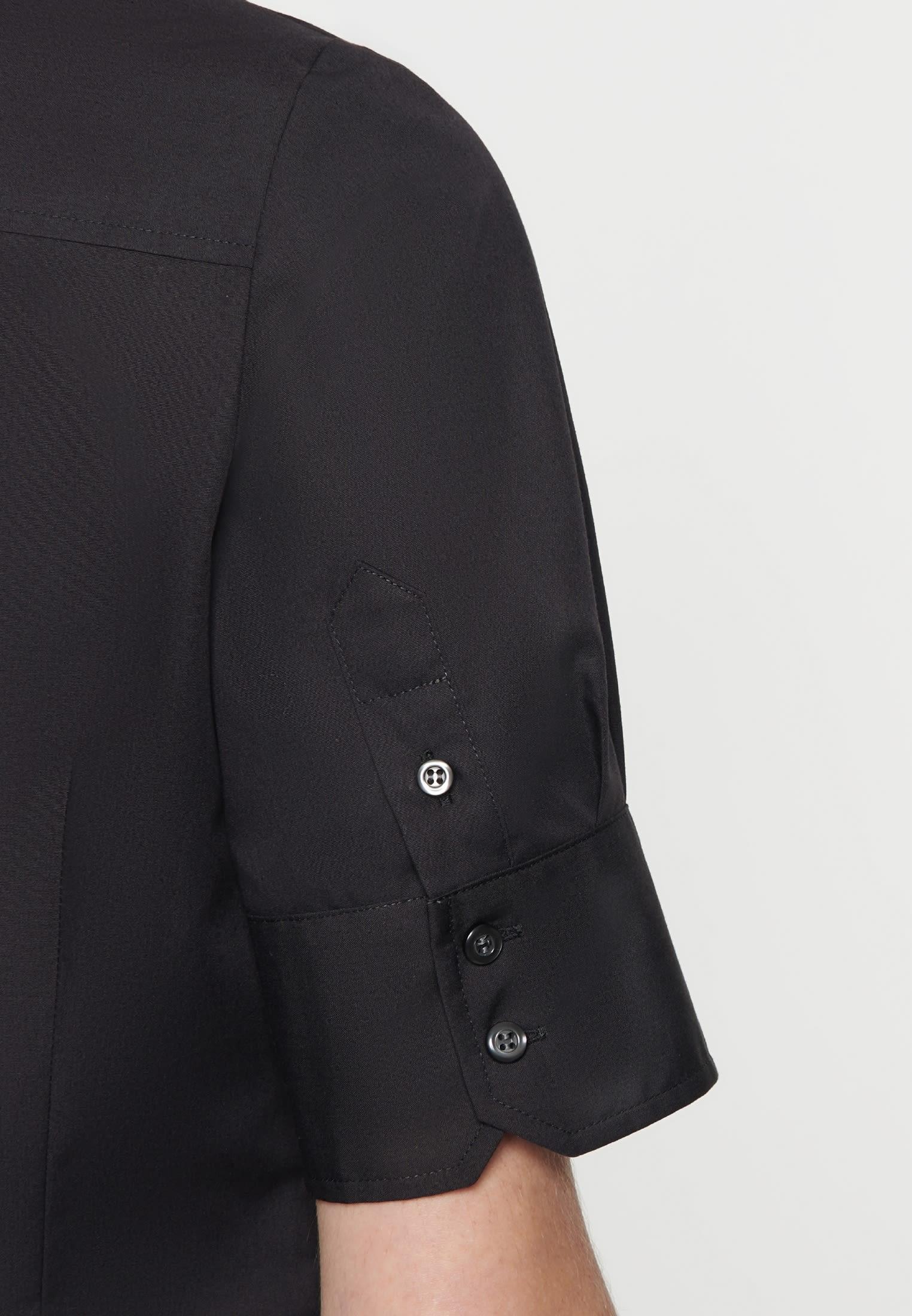 Non-iron Short arm Poplin Shirt Blouse made of 100% Cotton in Black |  Seidensticker Onlineshop