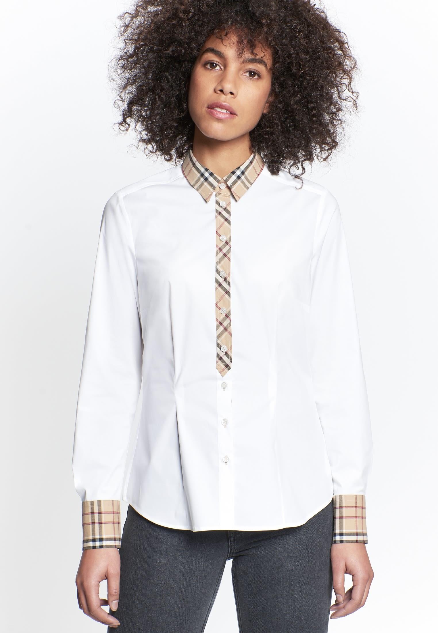 Poplin Shirt Blouse made of cotton blend in White |  Seidensticker Onlineshop