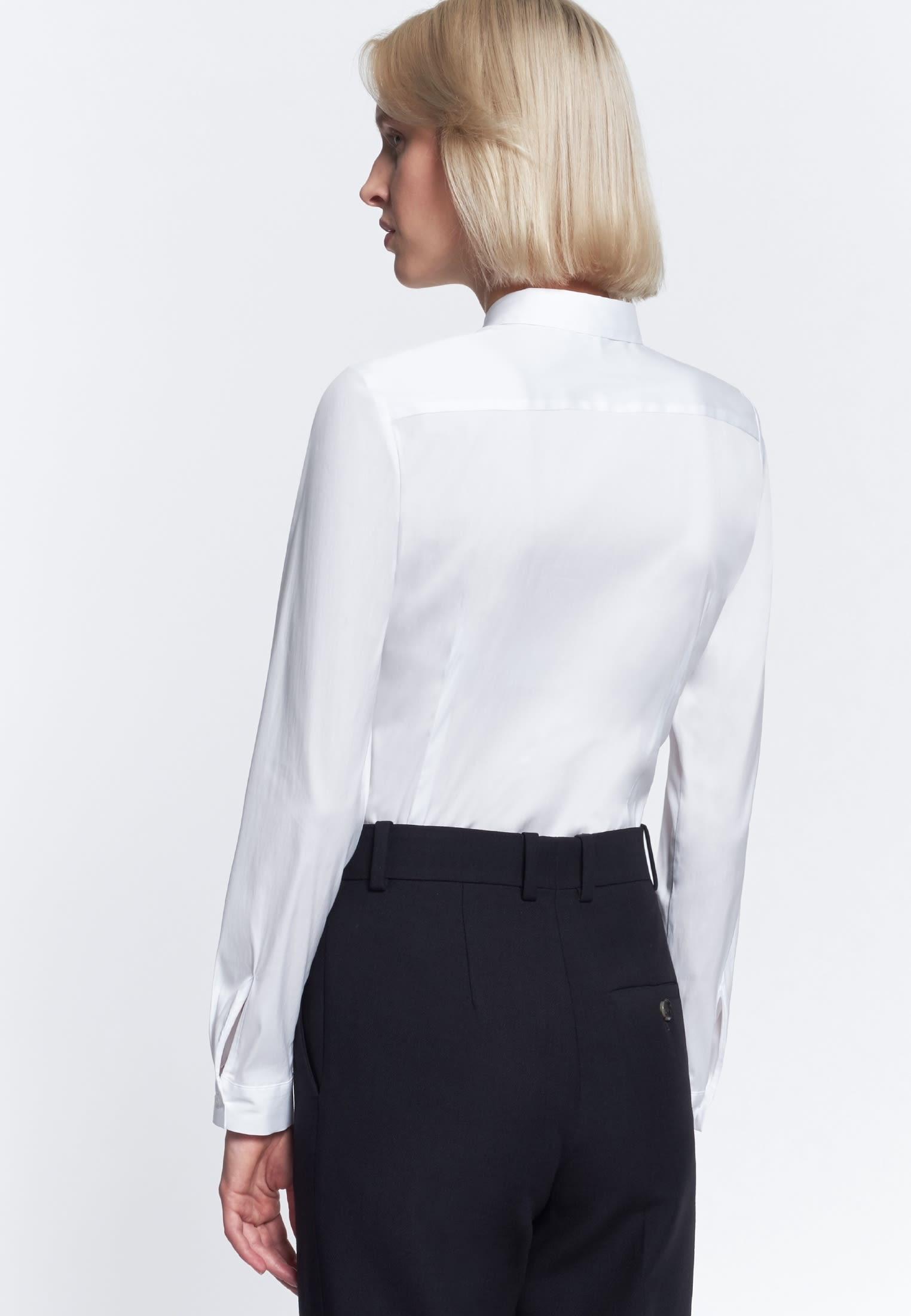 Poplin Shirt Blouse made of cotton blend in White    Seidensticker Onlineshop