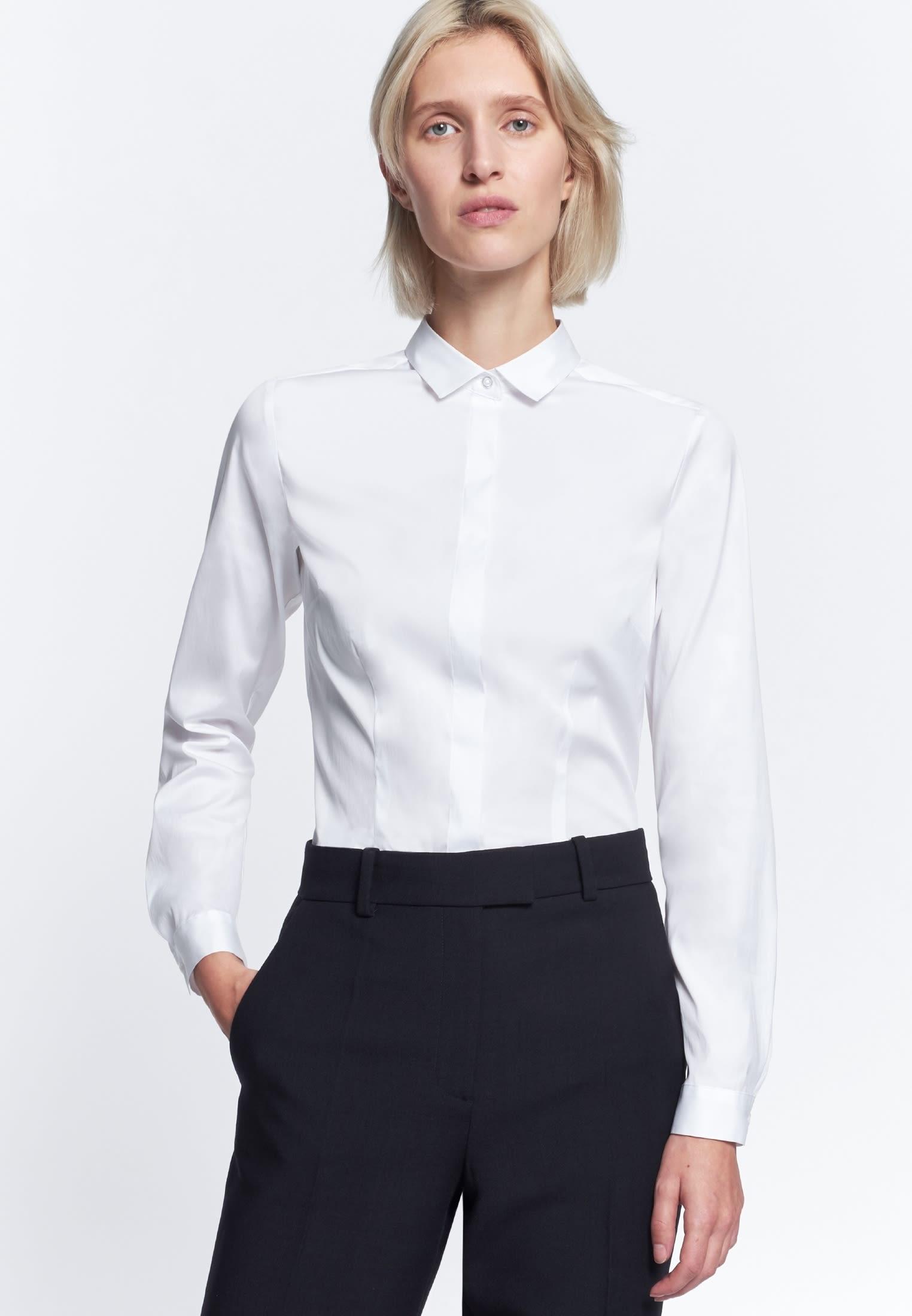 Poplin Shirt Blouse made of 81% Cotton 16% Polyamid/Nylon 3% Elastane in weiß |  Seidensticker Onlineshop