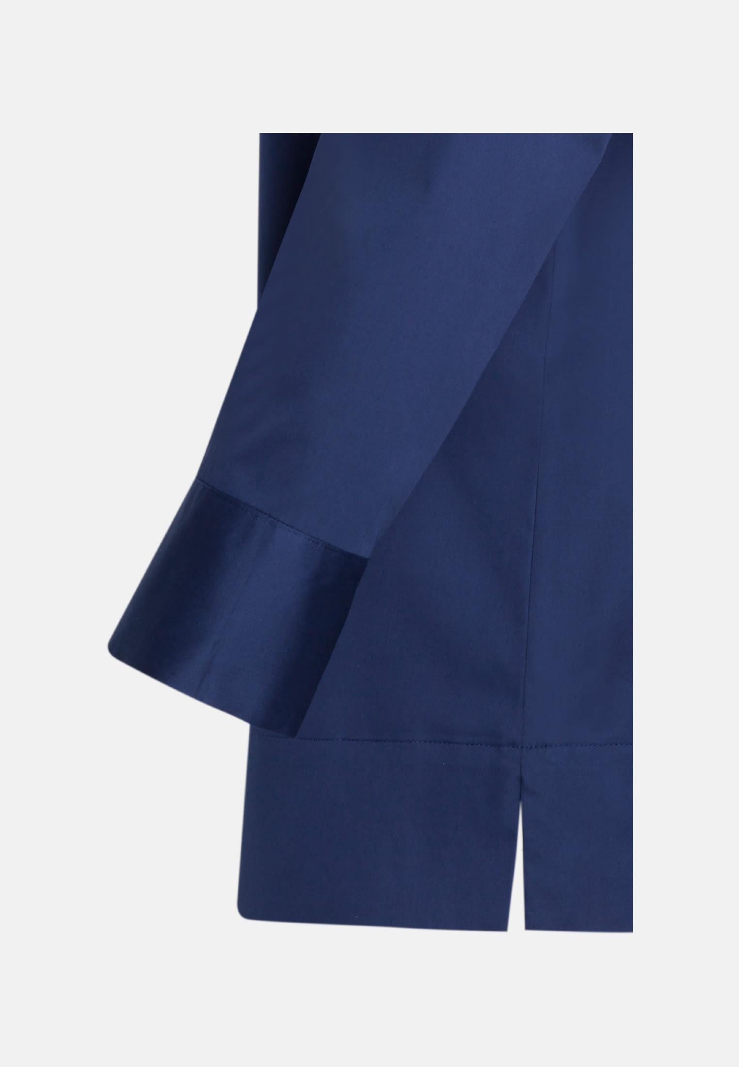 3/4 sleeve Satin Stand-Up Blouse made of cotton blend in Dark blue |  Seidensticker Onlineshop