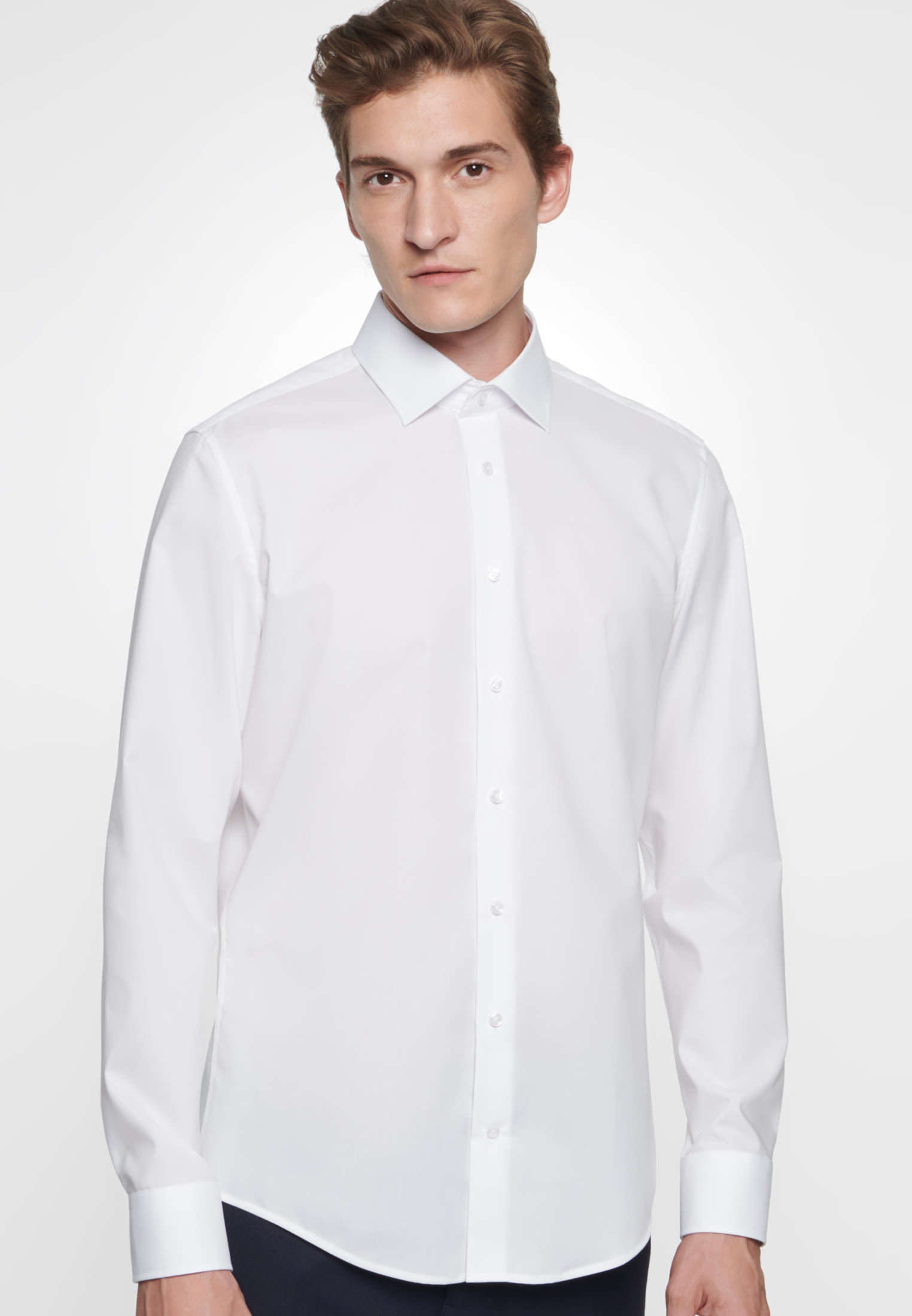 Non-iron Poplin Business Shirt in Slim with Kent-Collar in White |  Seidensticker Onlineshop