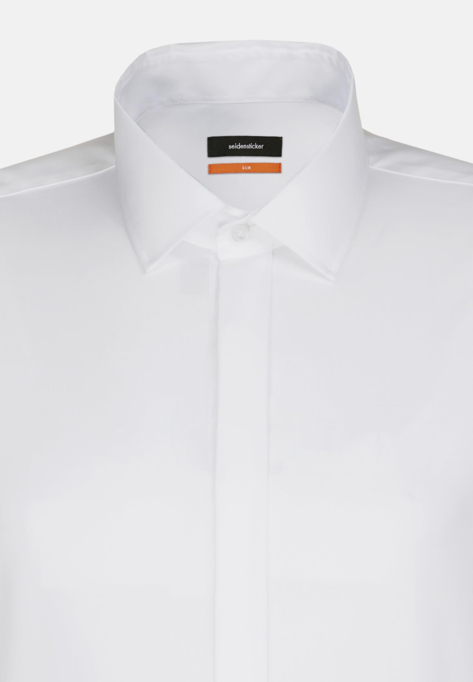Bügelfreies Popeline Smokinghemd in Slim mit Kentkragen in Weiß |  Seidensticker Onlineshop