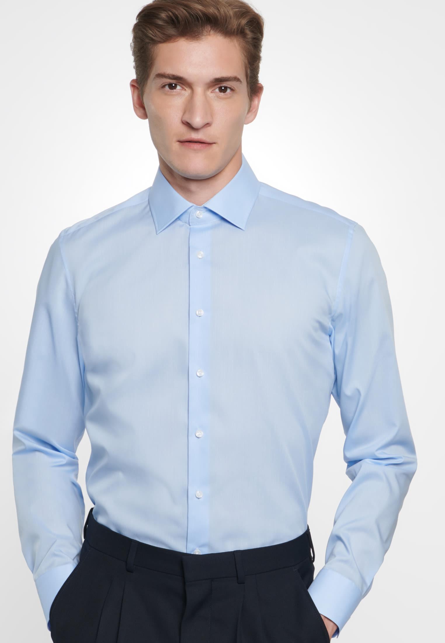 Non-iron Fil a fil Business Shirt in X-Slim with Kent-Collar in Light blue    Seidensticker Onlineshop