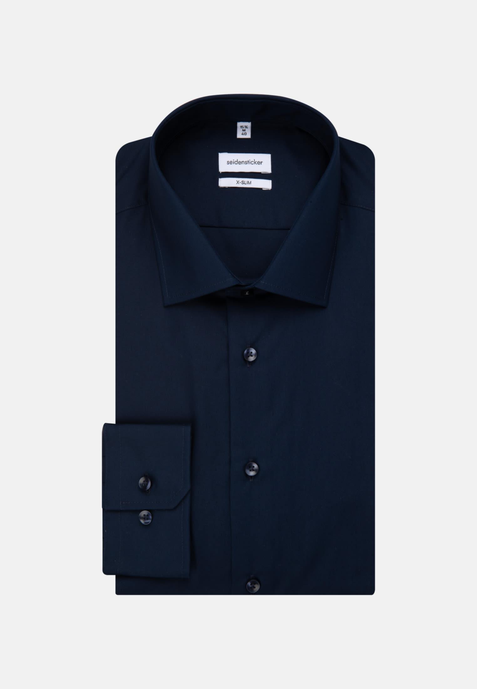 Non-iron Fil a fil Business Shirt in X-Slim with Kent-Collar in Dark blue |  Seidensticker Onlineshop