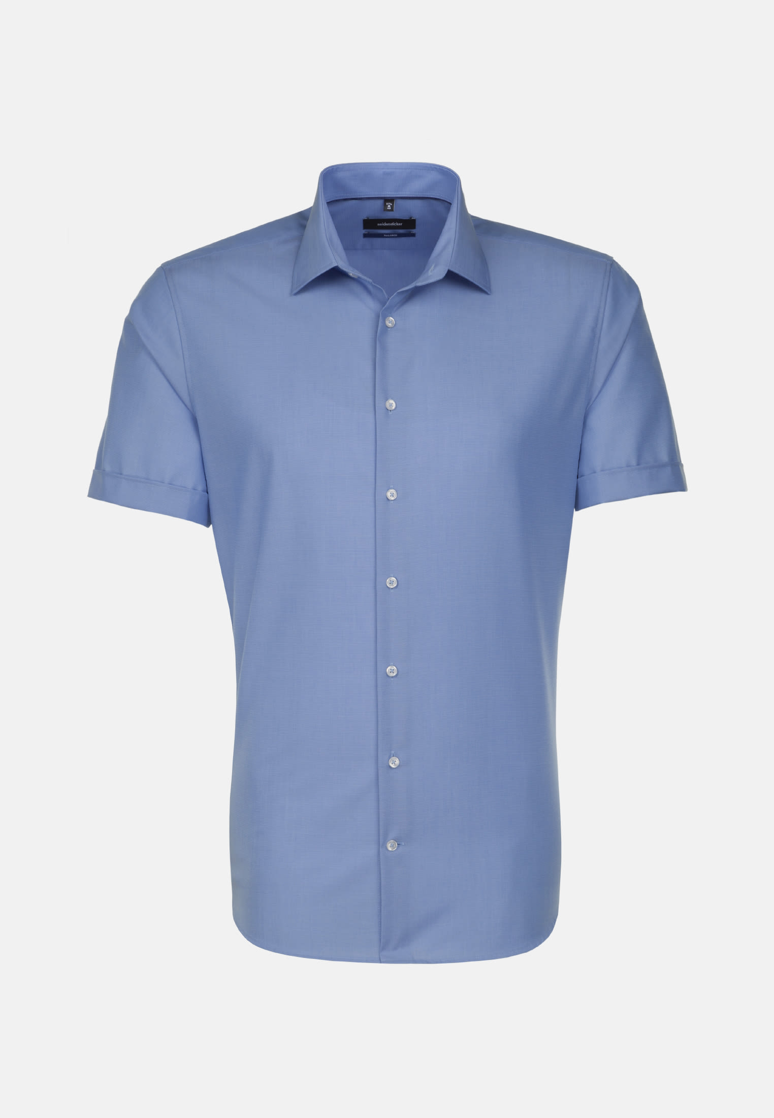 Non-iron Fil a fil Short sleeve Business Shirt in Shaped with Kent-Collar in Medium blue |  Seidensticker Onlineshop
