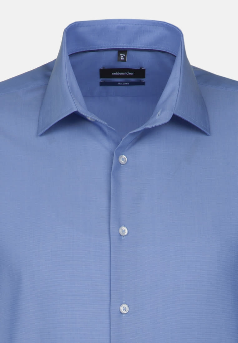 Non-iron Fil a fil Short arm Business Shirt in Shaped with Kent-Collar in Medium blue |  Seidensticker Onlineshop