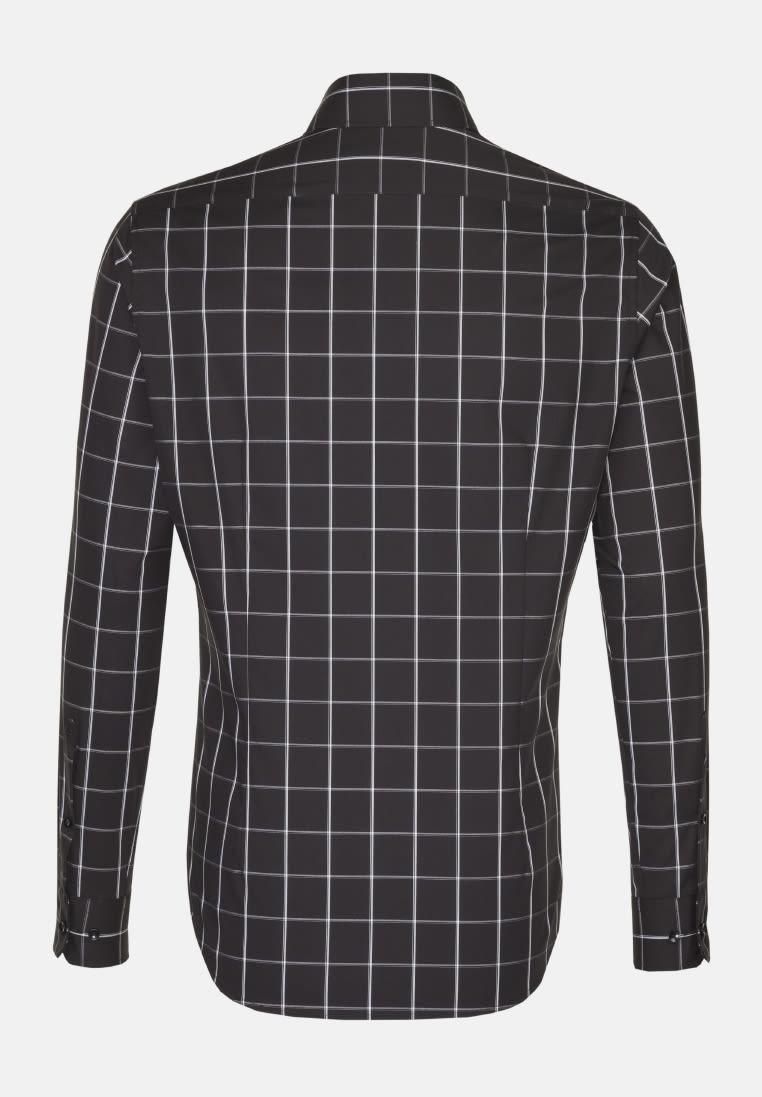 Non-iron Poplin Business Shirt in Slim with Shark Collar in Black |  Seidensticker Onlineshop