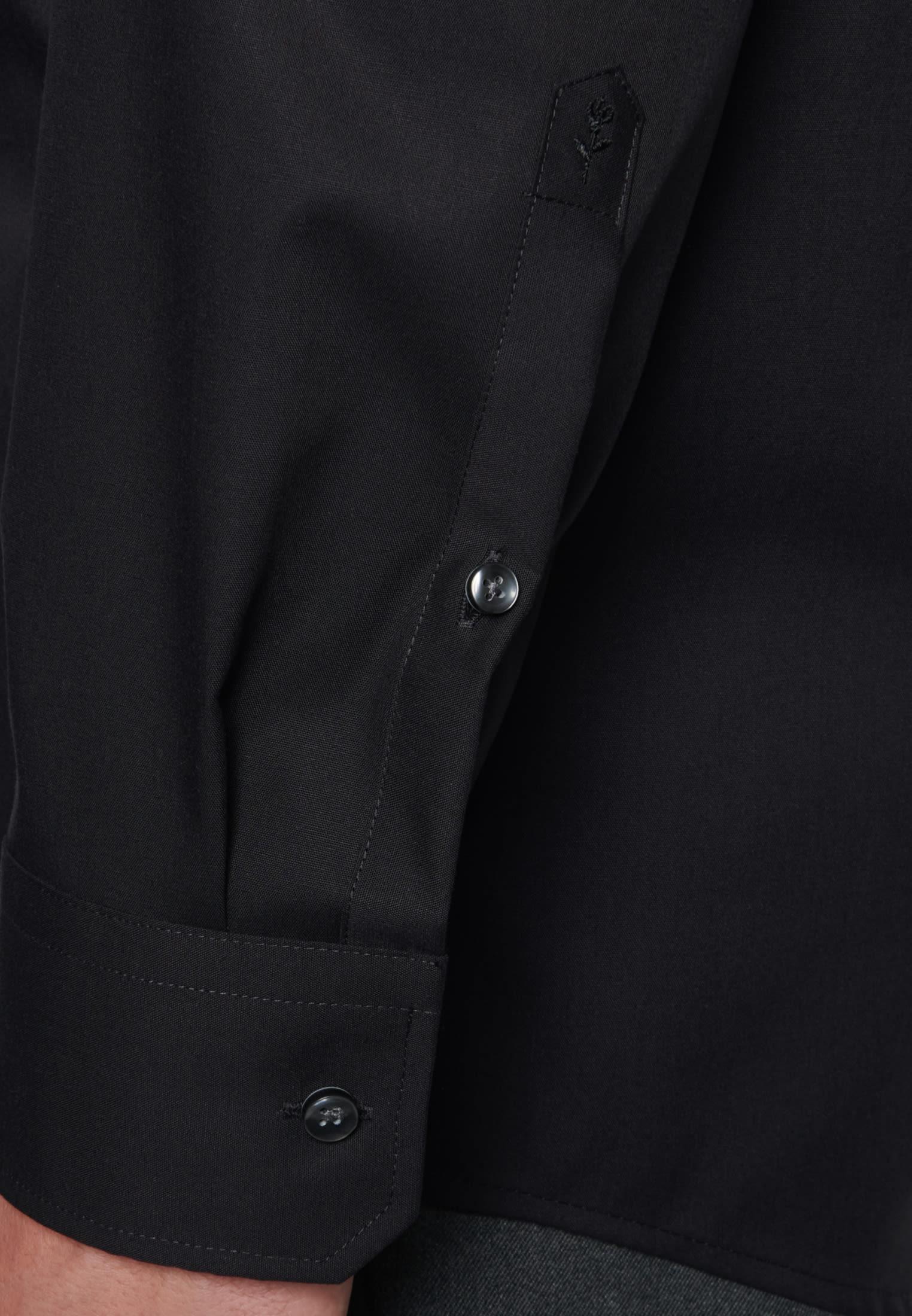 Non-iron Poplin Business Shirt in Modern with Kent-Collar in schwarz |  Seidensticker Onlineshop