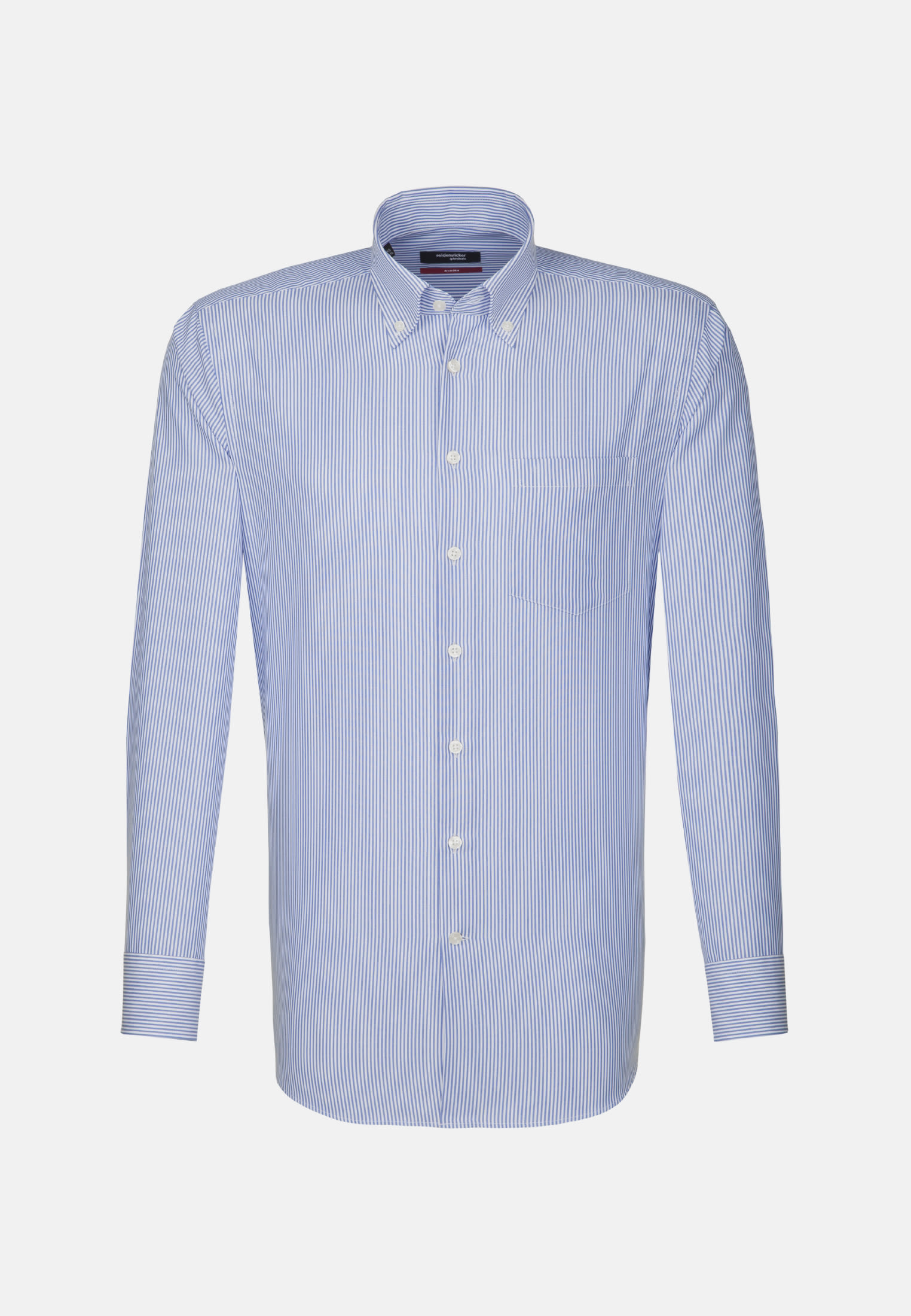 Non-iron Poplin Business Shirt in Modern with Button-Down-Collar in Medium blue |  Seidensticker Onlineshop