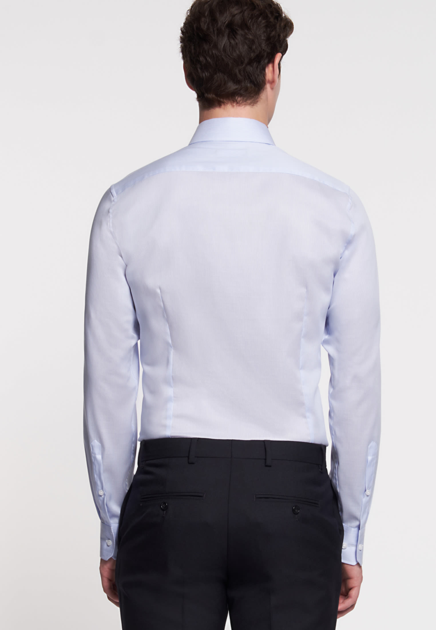 Non-iron Twill Business Shirt in Slim with Kent-Collar in Light blue |  Seidensticker Onlineshop