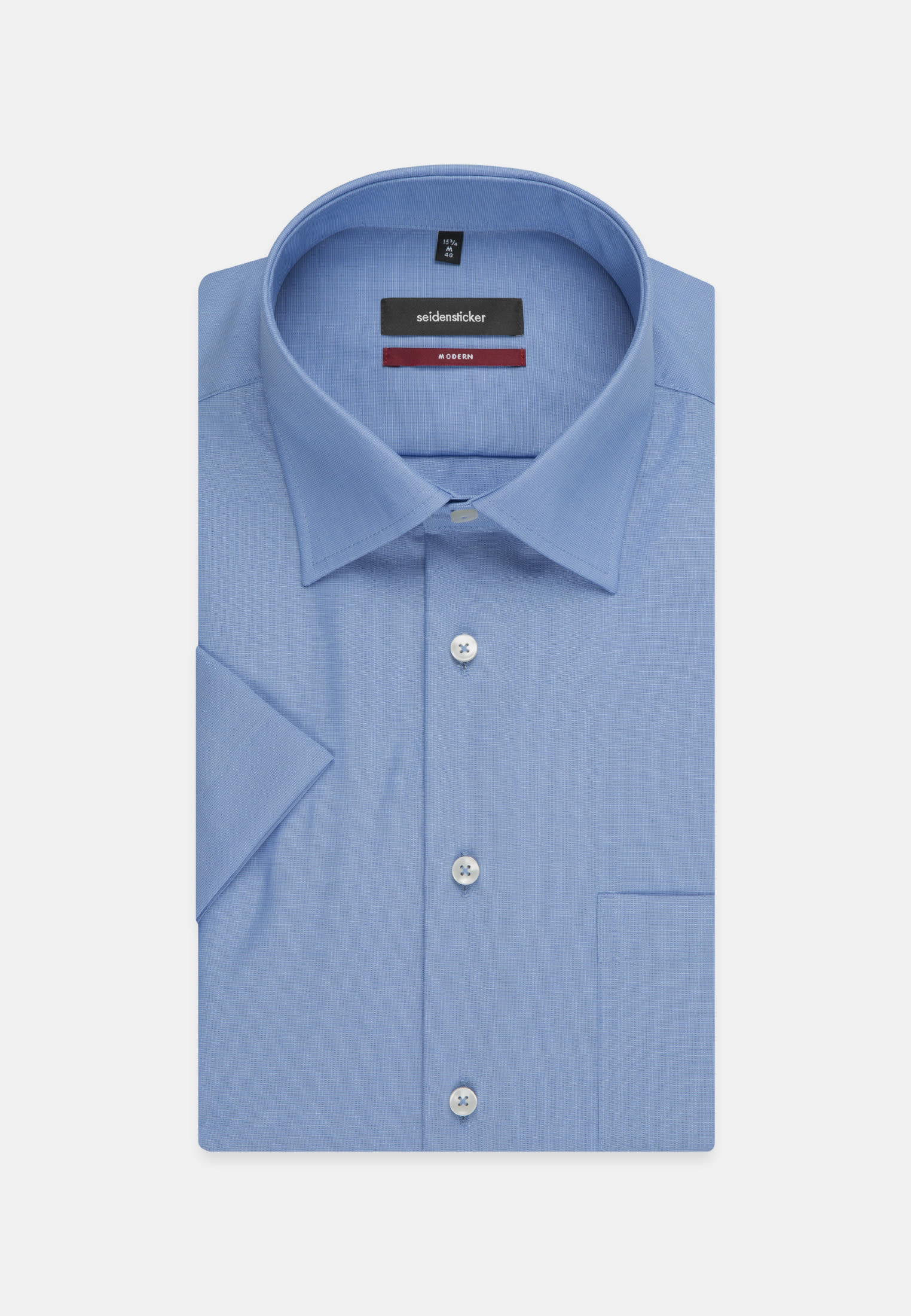 Non-iron Fil a fil Short arm Business Shirt in Modern with Kent-Collar in Medium blue |  Seidensticker Onlineshop