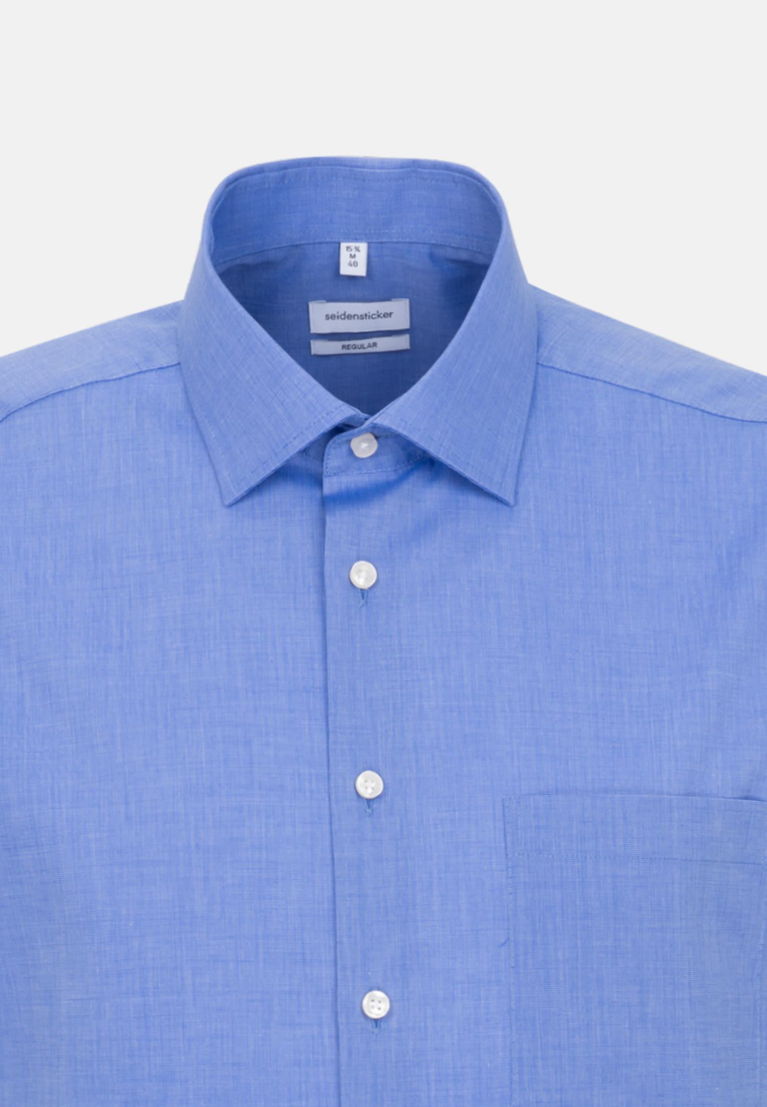 Non-iron Fil a fil Short sleeve Business Shirt in Regular with Kent-Collar in Medium blue |  Seidensticker Onlineshop