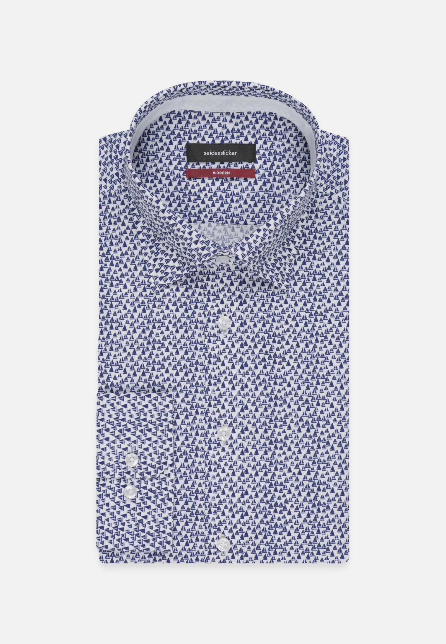 Easy-iron Poplin Business Shirt in Modern with Covered-Button-Down-Collar in Medium blue |  Seidensticker Onlineshop