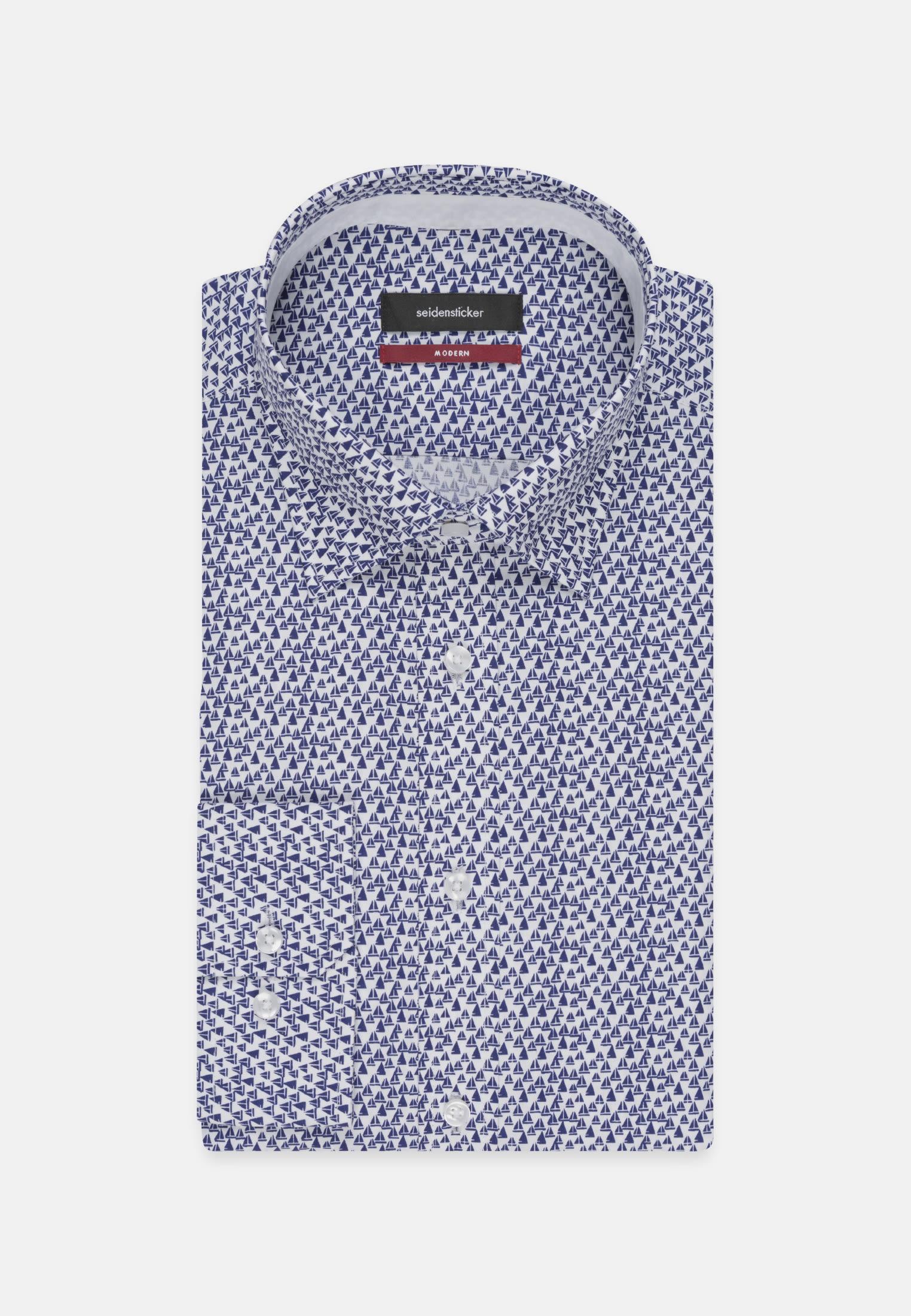 Easy-iron Poplin Business Shirt in Regular with Covered-Button-Down-Collar in Medium blue |  Seidensticker Onlineshop