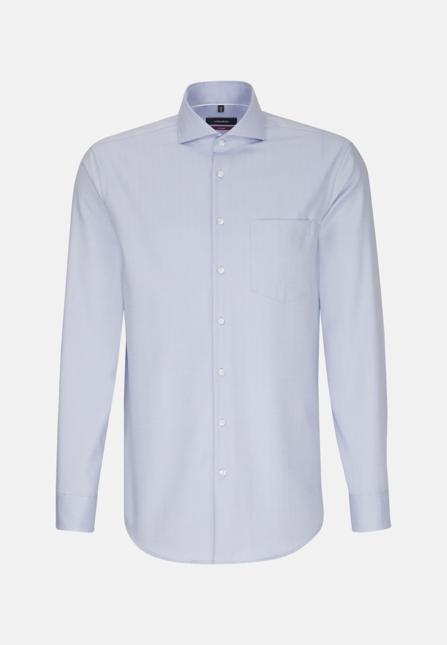 Non-iron Herringbone pattern Business Shirt in Regular with Shark Collar in Light blue |  Seidensticker Onlineshop