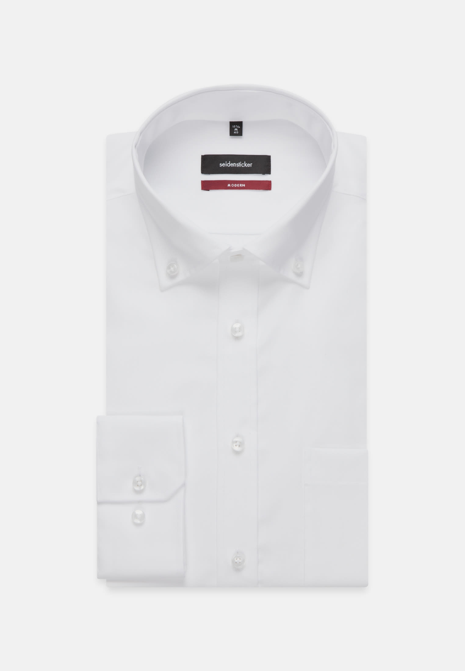 Non-iron Poplin Business Shirt in Modern with Button-Down-Collar in White |  Seidensticker Onlineshop