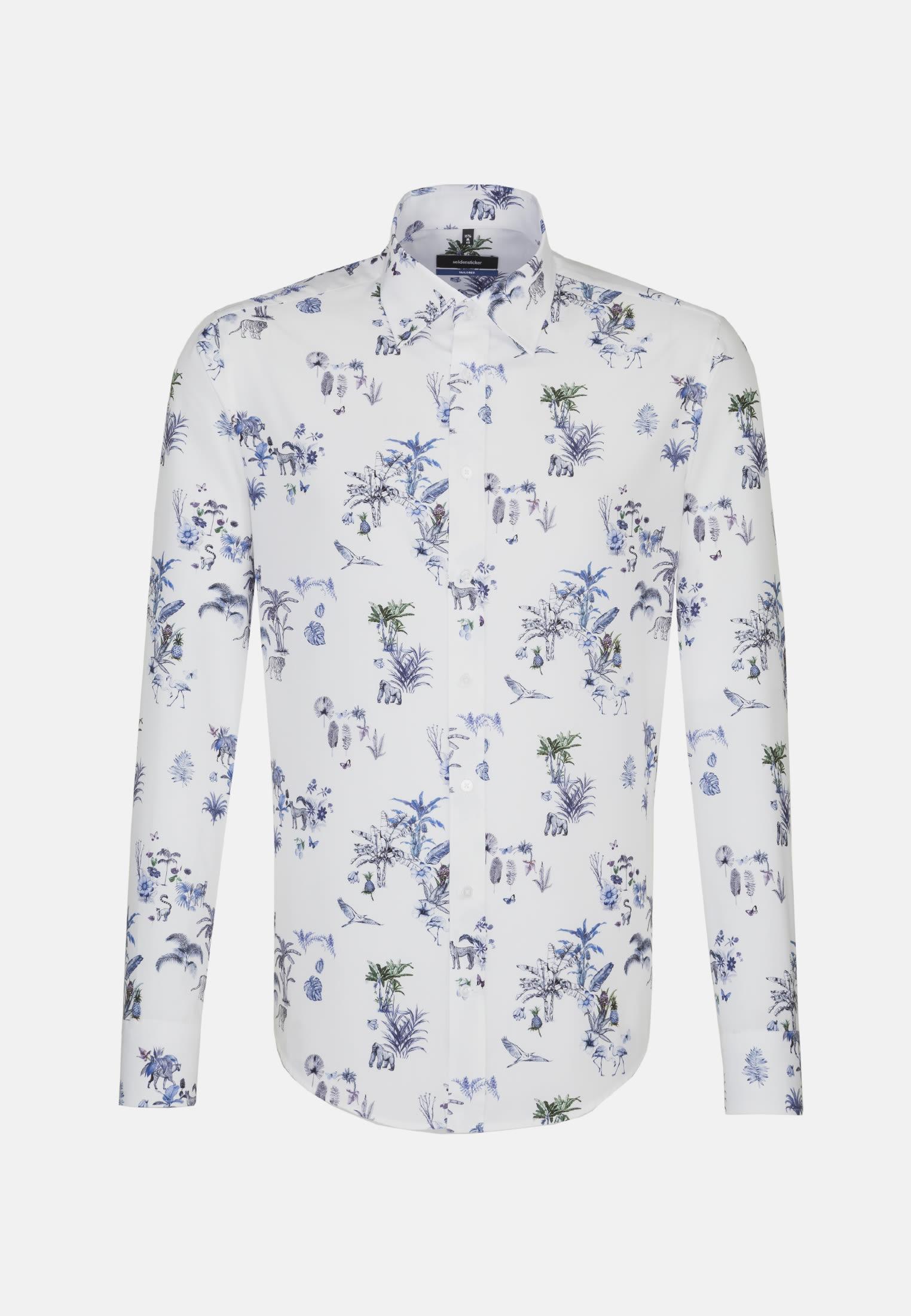 Easy-iron Poplin Business Shirt in Tailored with Covered-Button-Down-Collar in blau    Seidensticker Onlineshop
