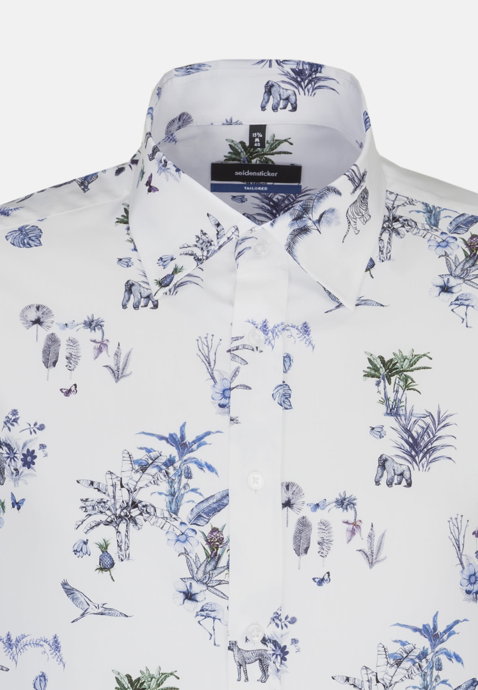 Easy-iron Poplin Business Shirt in Shaped with Covered-Button-Down-Collar in Light blue    Seidensticker Onlineshop